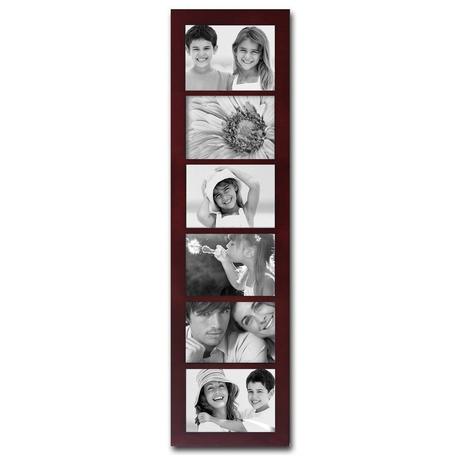 Adeco Walnut Wood 6 opening Collage Picture Frame Walnut Brown