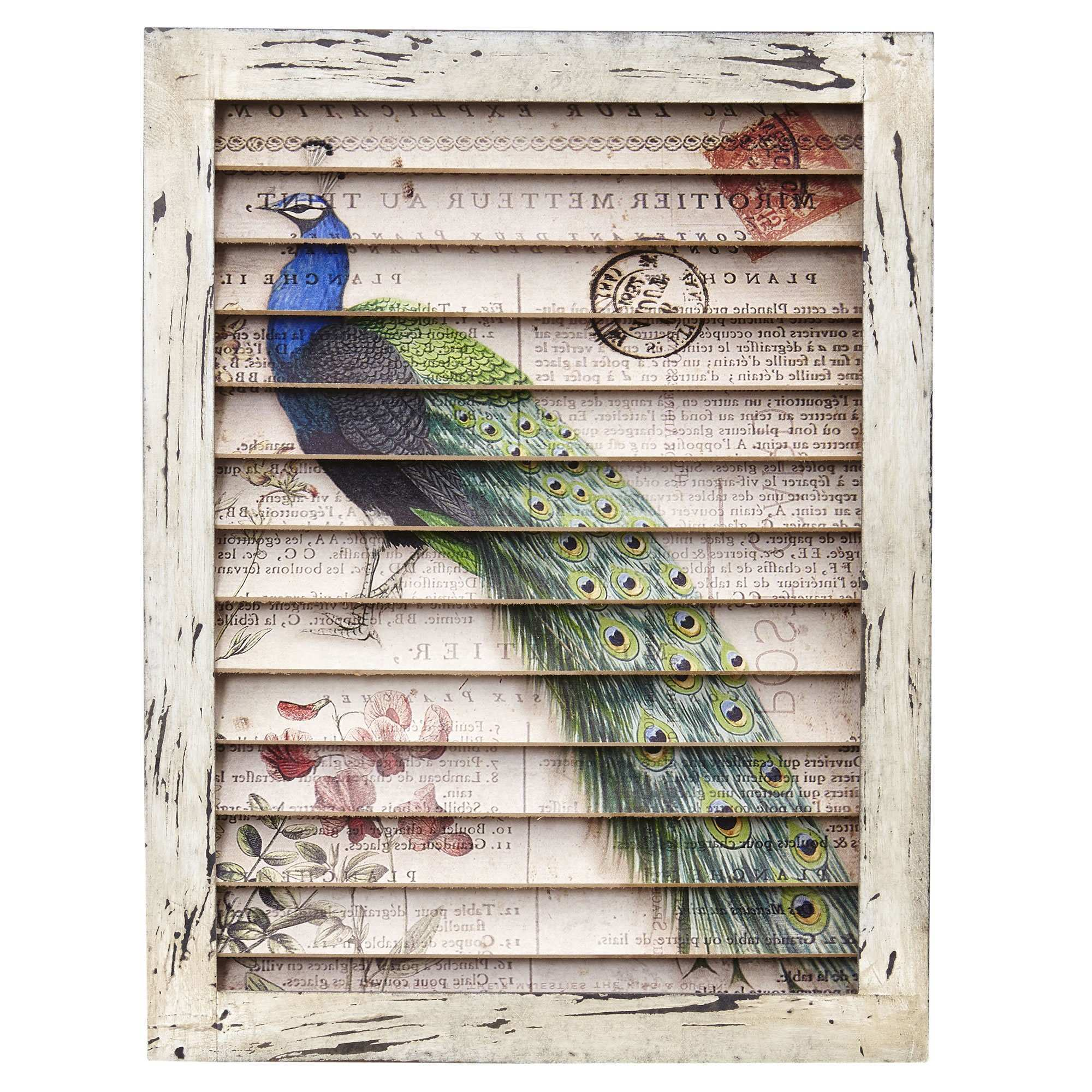Nearly Natural Peacock Window Shutter Wall Décor & Reviews