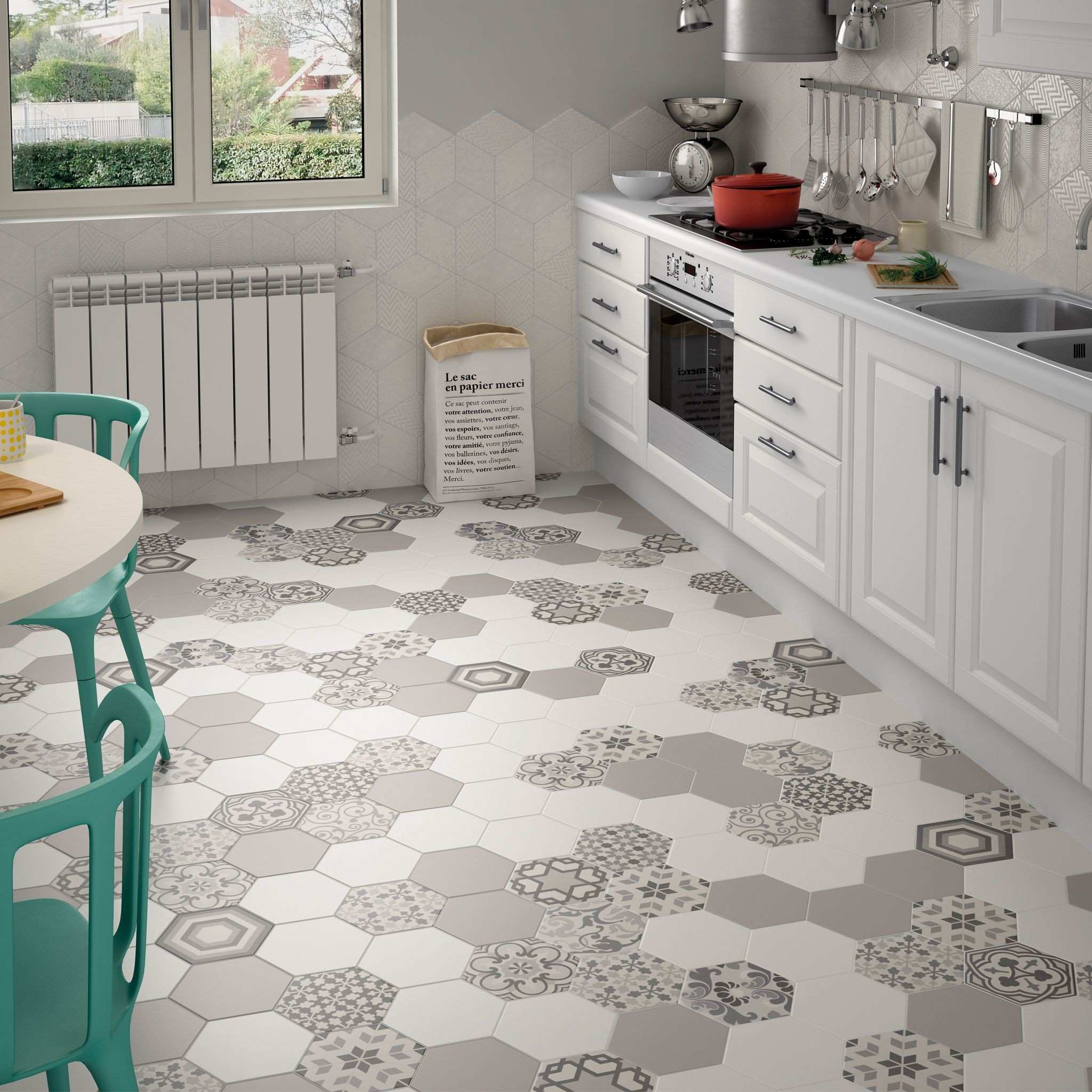Hexagon Random Pattern Decorative tiles in Black & White colours for