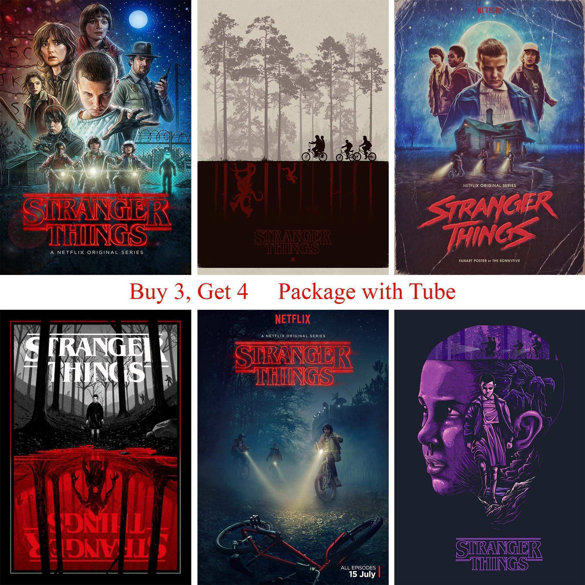 Stranger Things Posters Wall Stickers High Quality White Coated