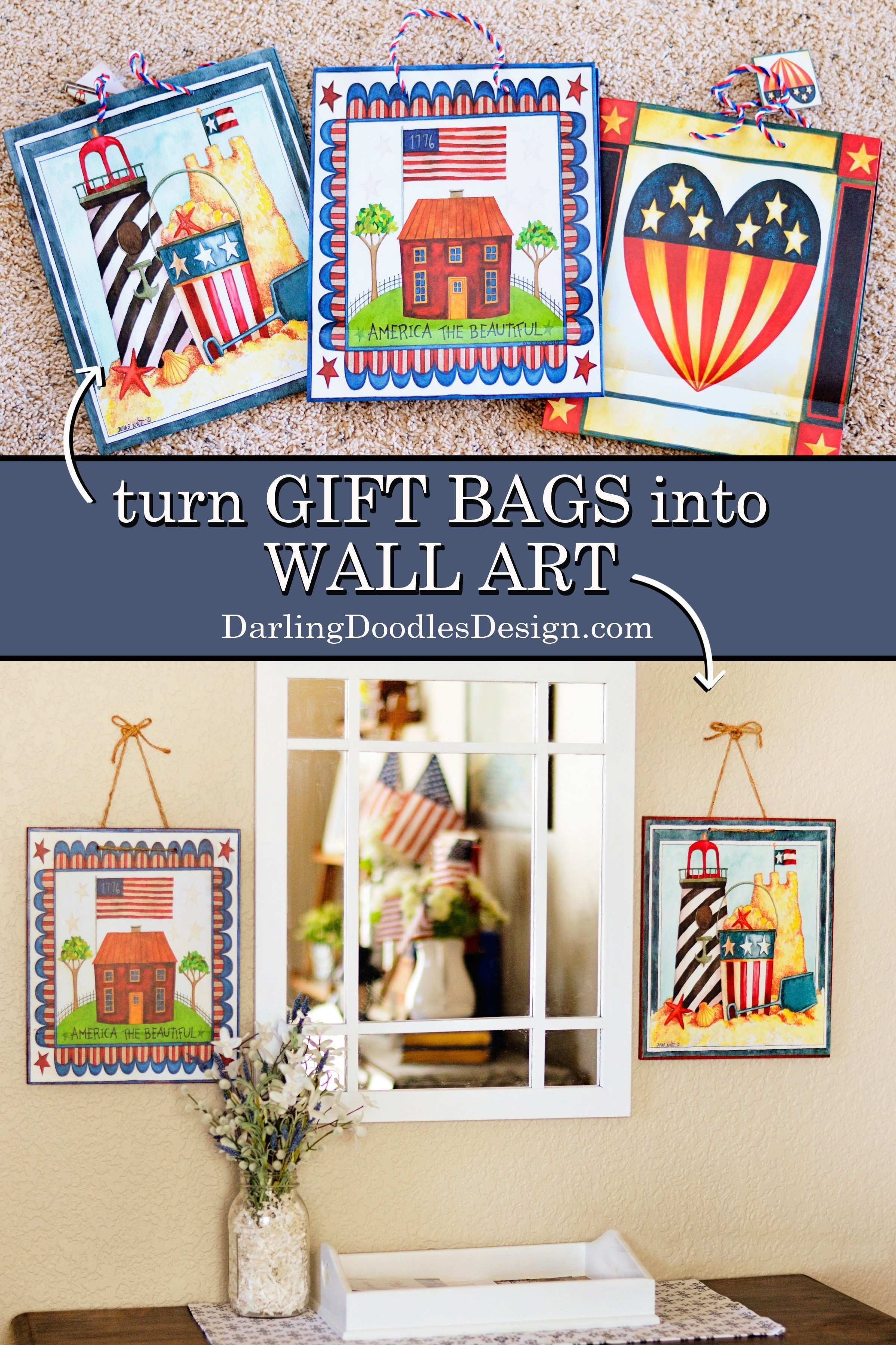 DIY Wall Art From Gift Bags Darling Doodles