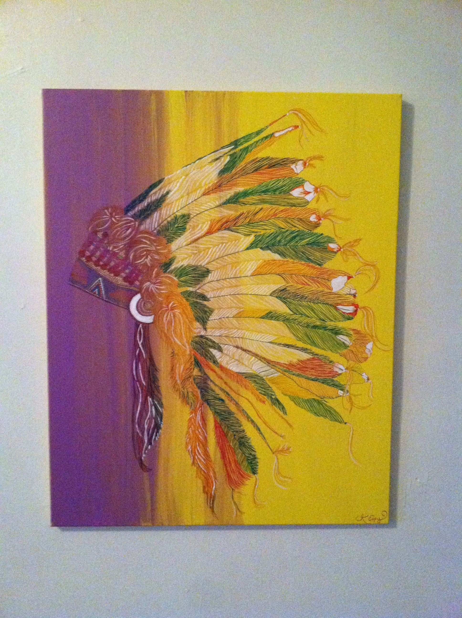 Indian Headdress Painting on canvas 36x24 SOLD