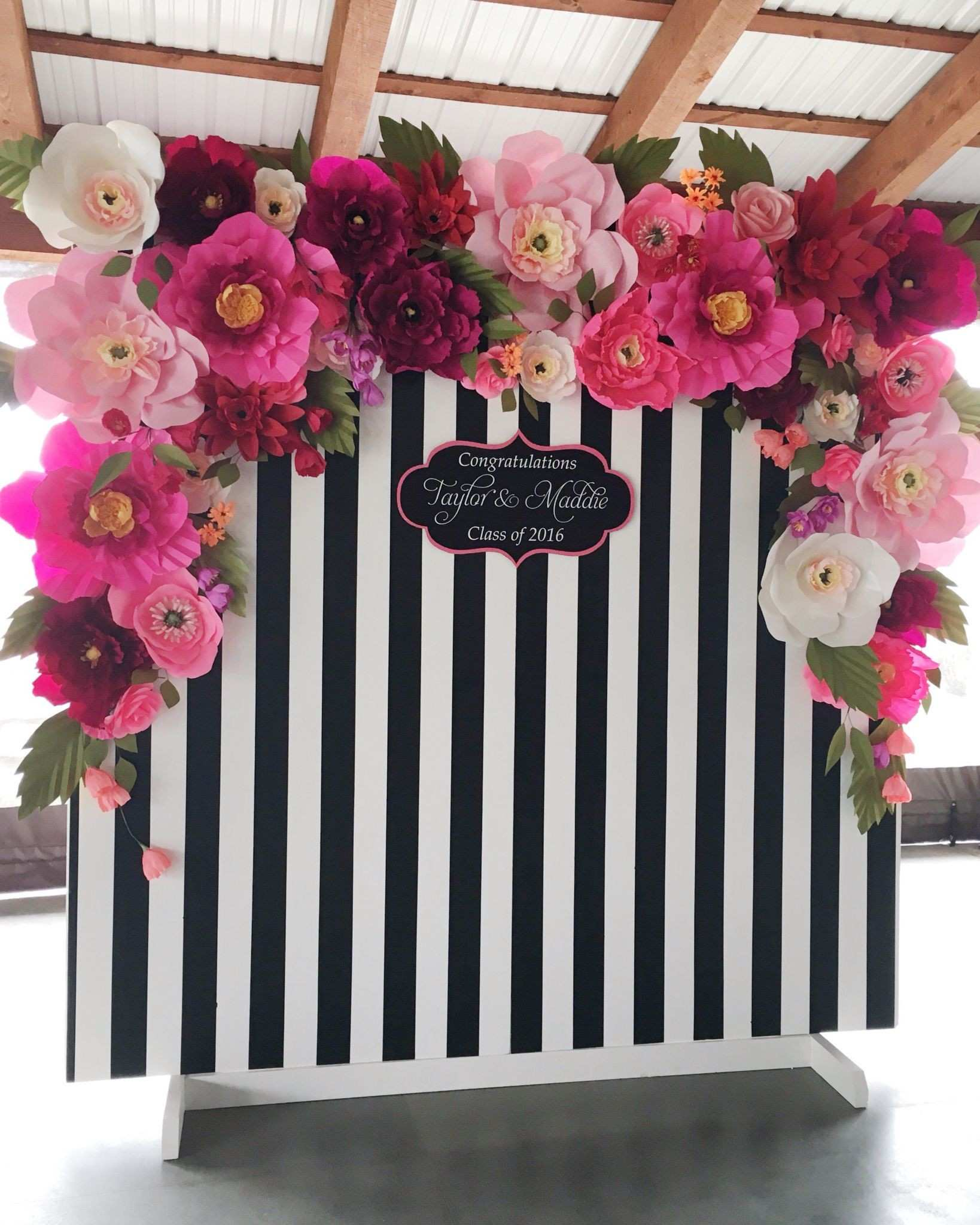 How Perfect is This Black and White Stripped and Flowery Backdrop