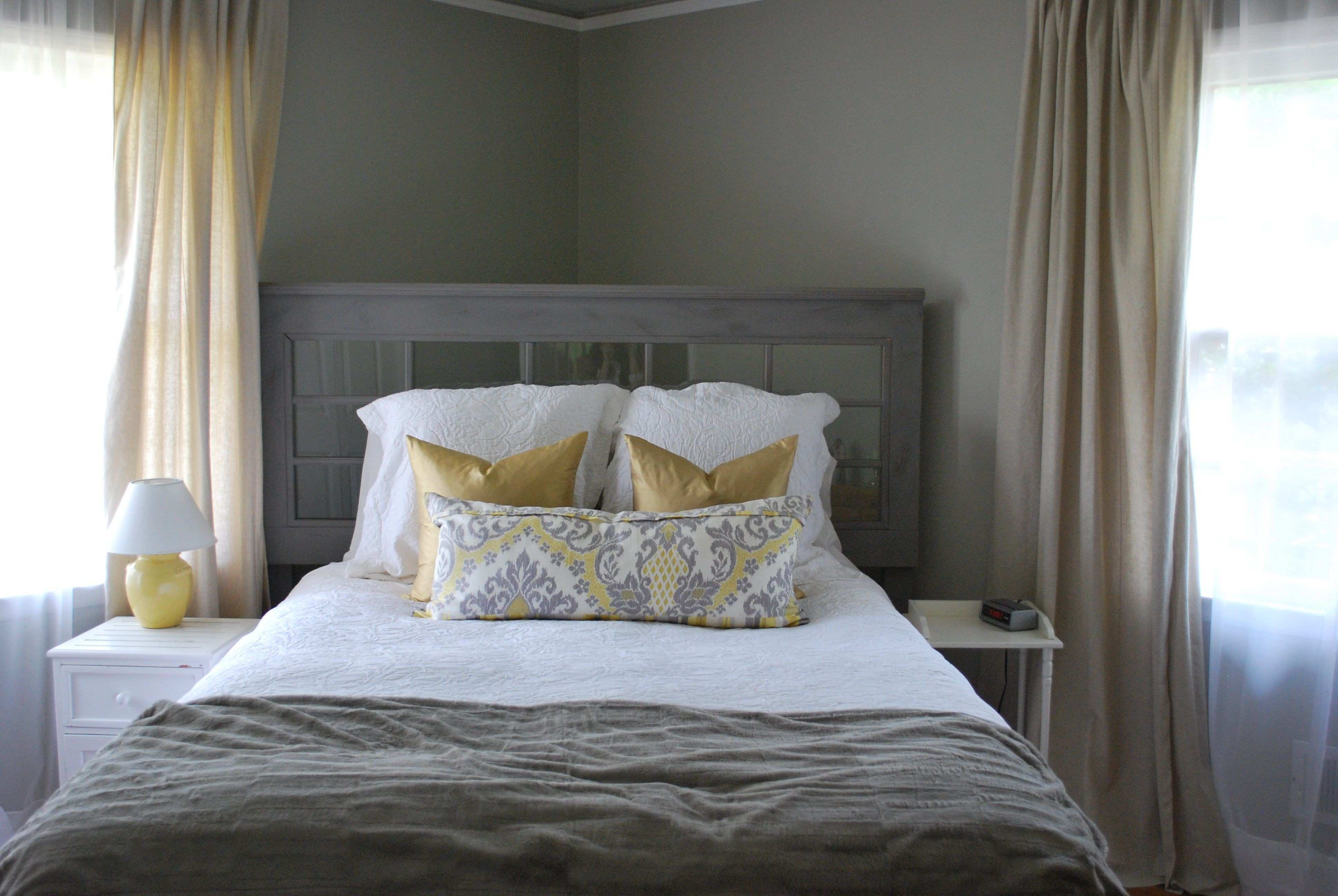 Grey walls tan linen curtains Home is where
