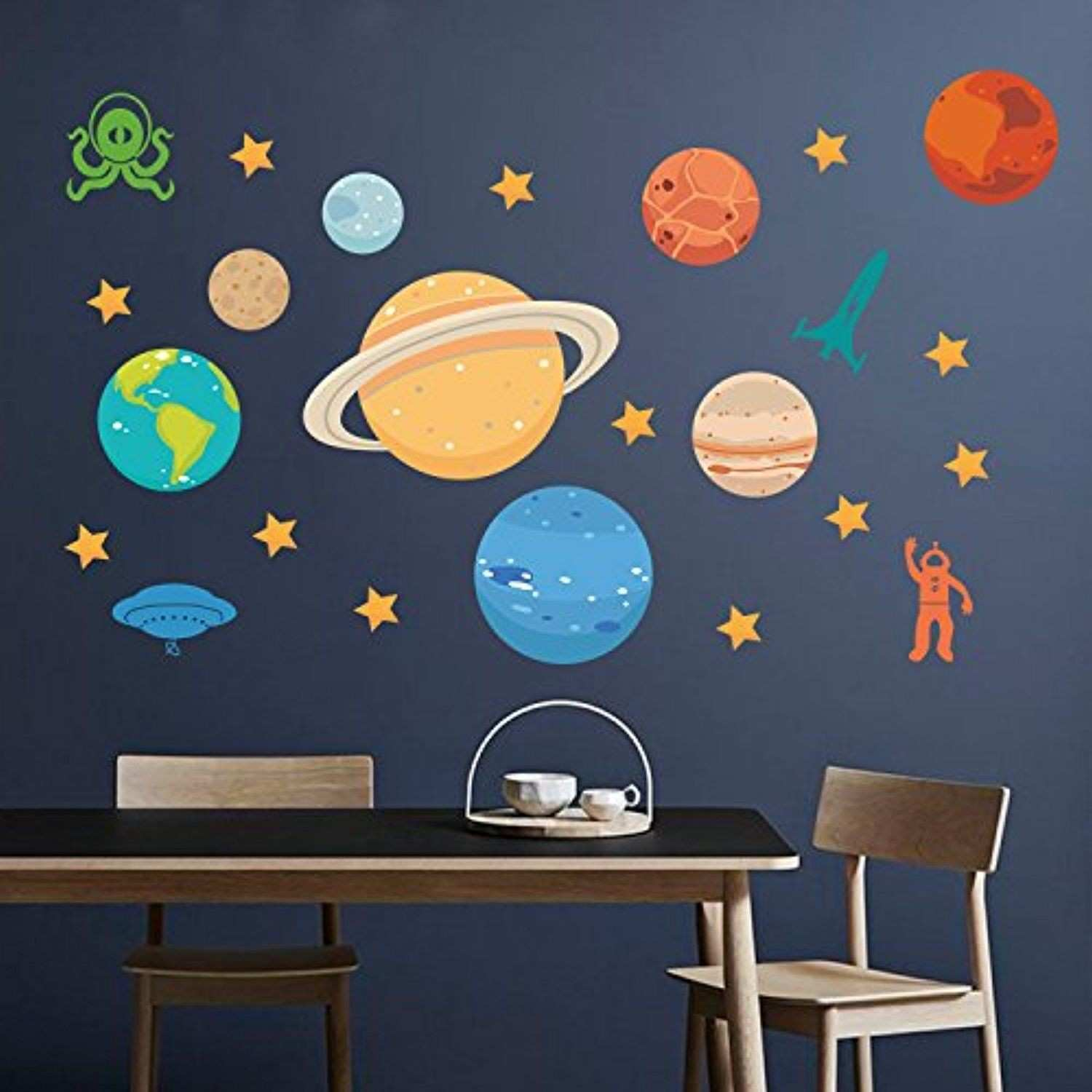 DecalMile Planets UFO Stars Space Wall Stickers Removable DIY Wall