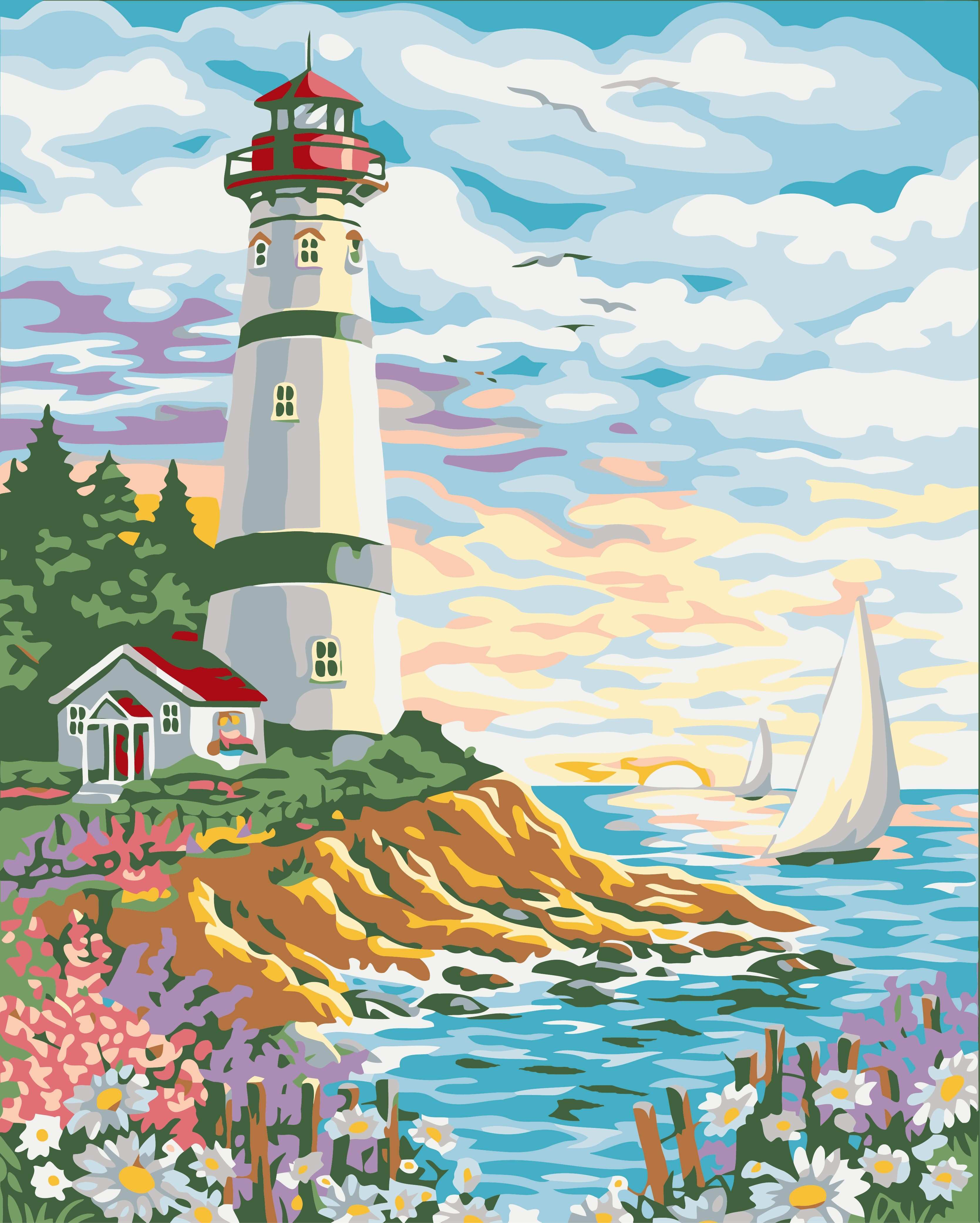 Diy oil painting By Numbers Frameless Paint Tower by the sea modern