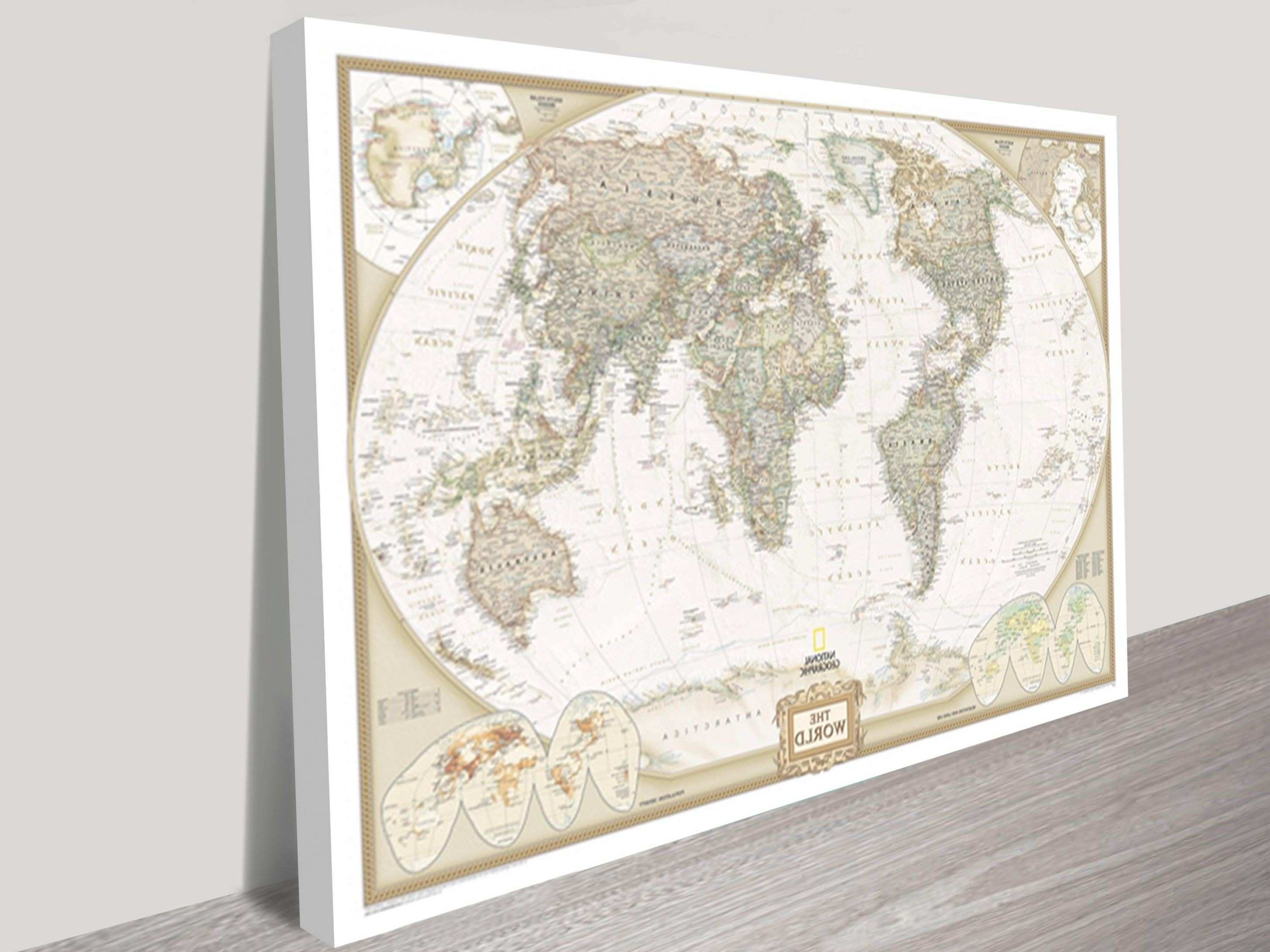 Appealing Colorful World Map Art Canvas Print Watercolor Piece Image