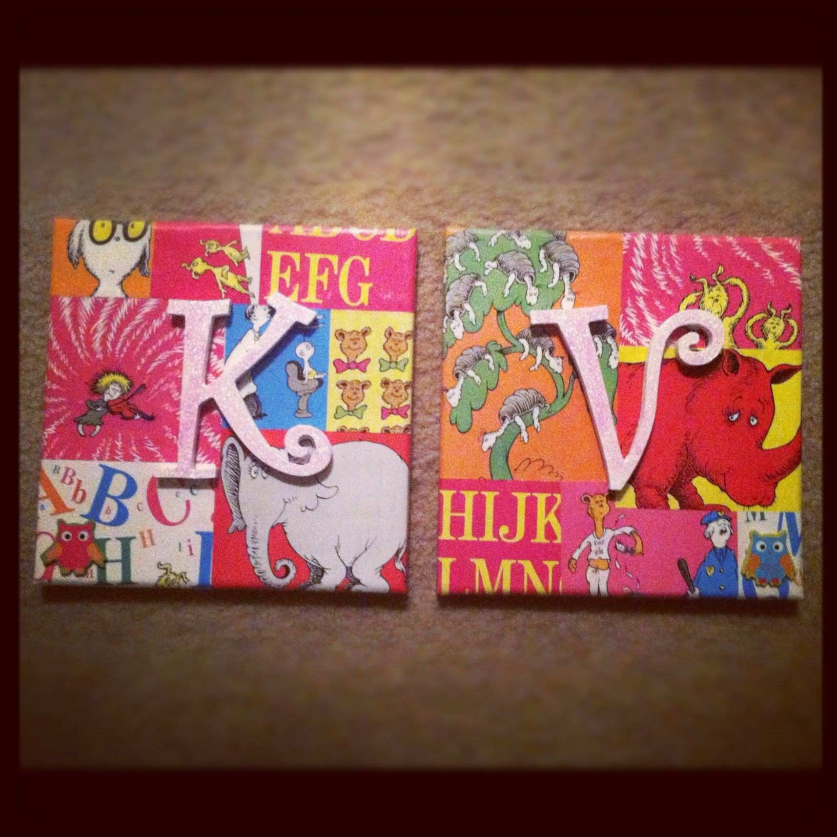 Dr Seuss book pages mod poged on canvas with wooden letters