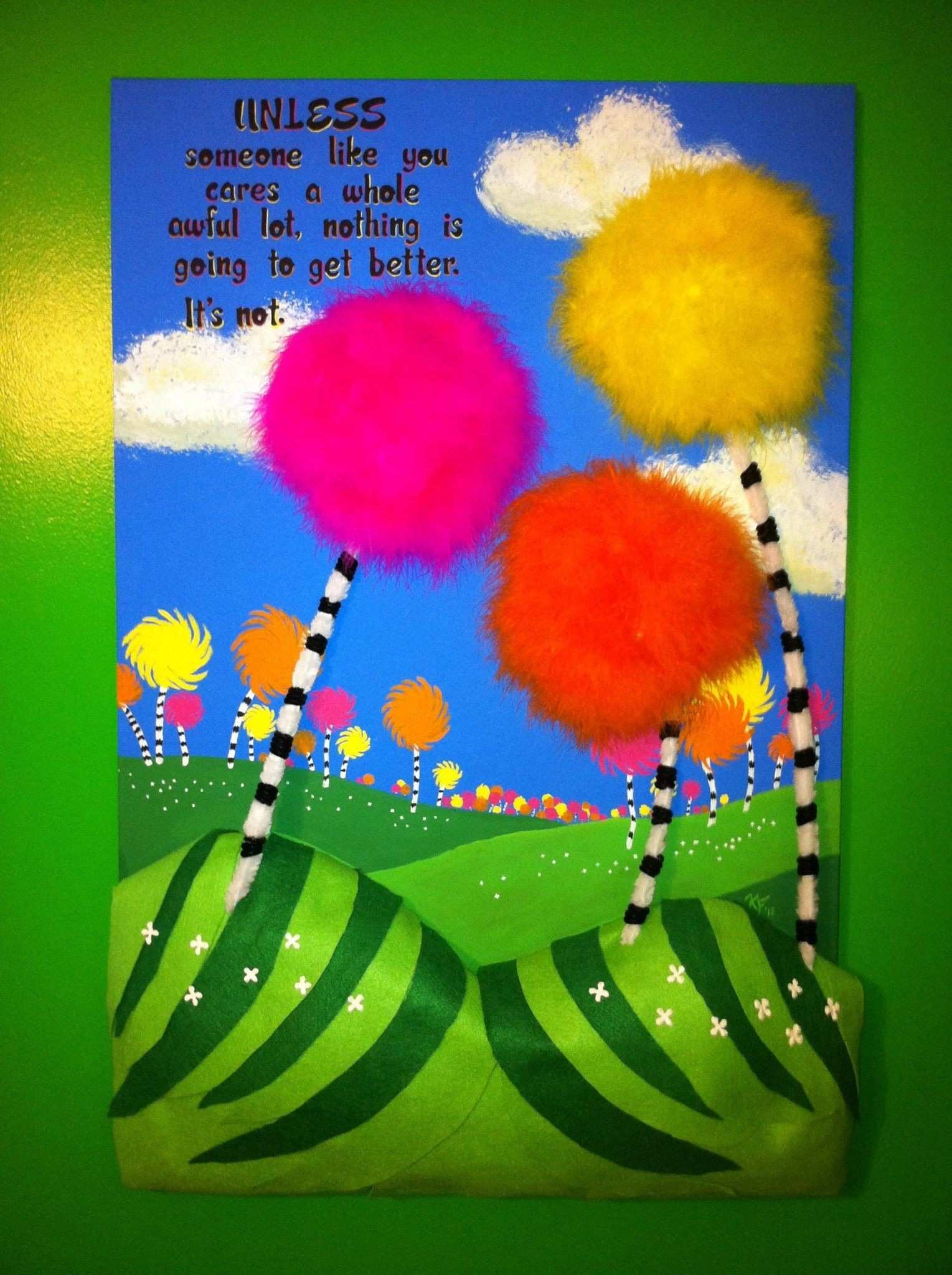 """Inspired by The Lorax by Dr Seuss Acrylic on canvas 24""""x36"""