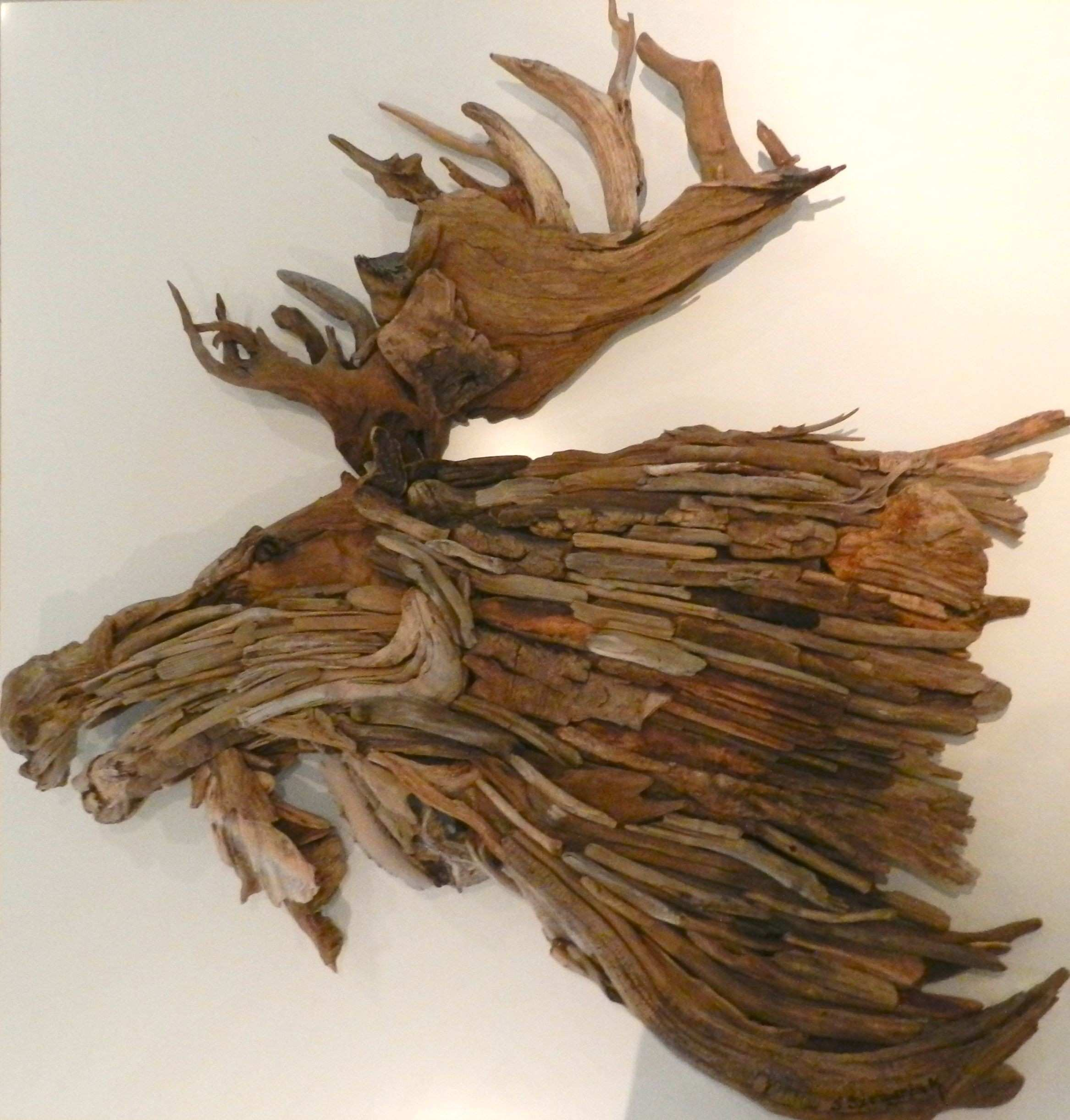 Driftwood Moose Head wall hanging by artist Jennifer Szczyrbak
