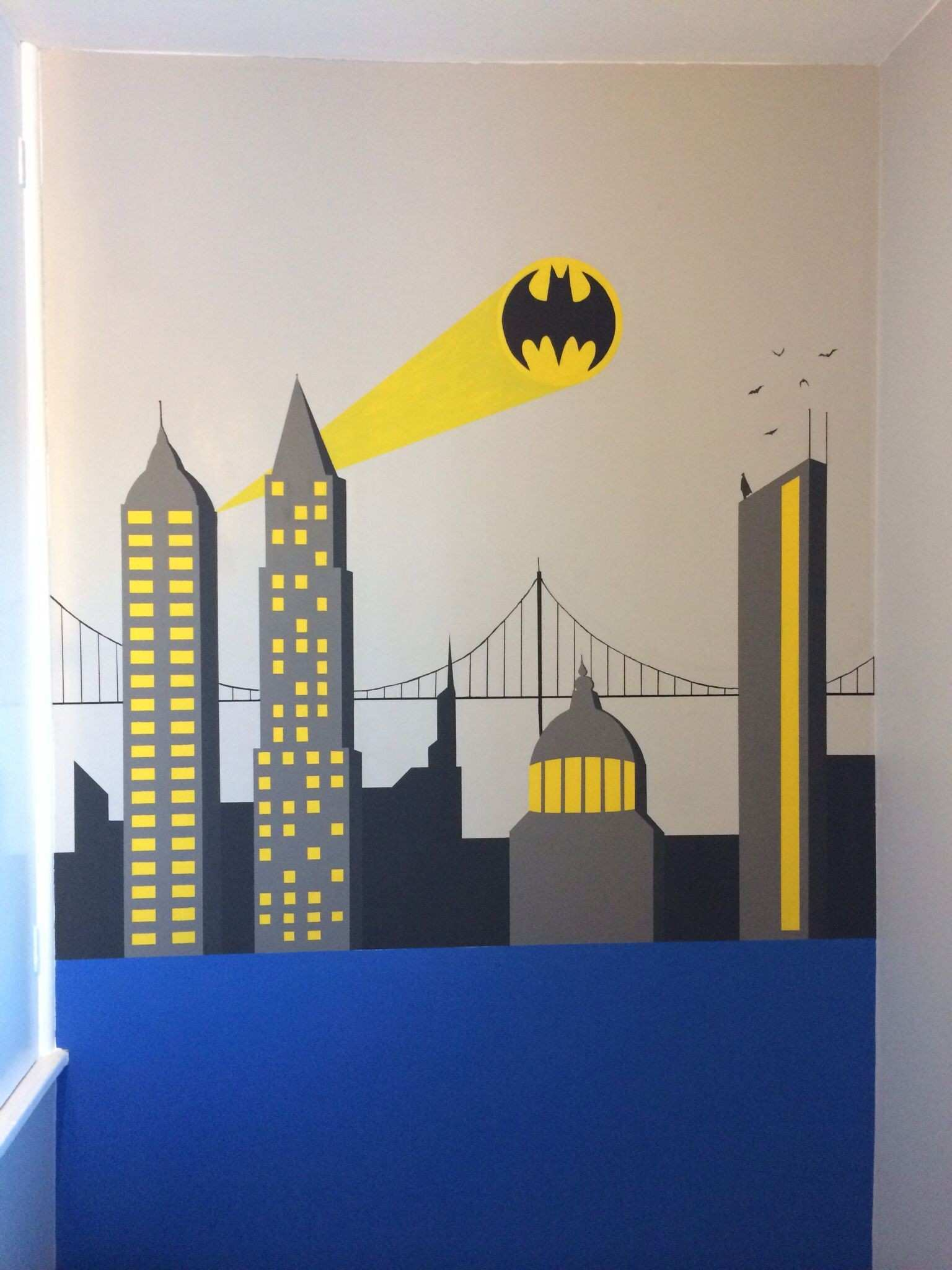Batman wall painting Superhero themed bedroom for my 5yr olds big