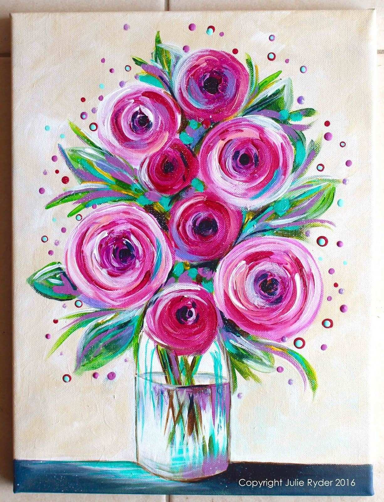 41 Luxury s Easy Flower Paintings Canvas