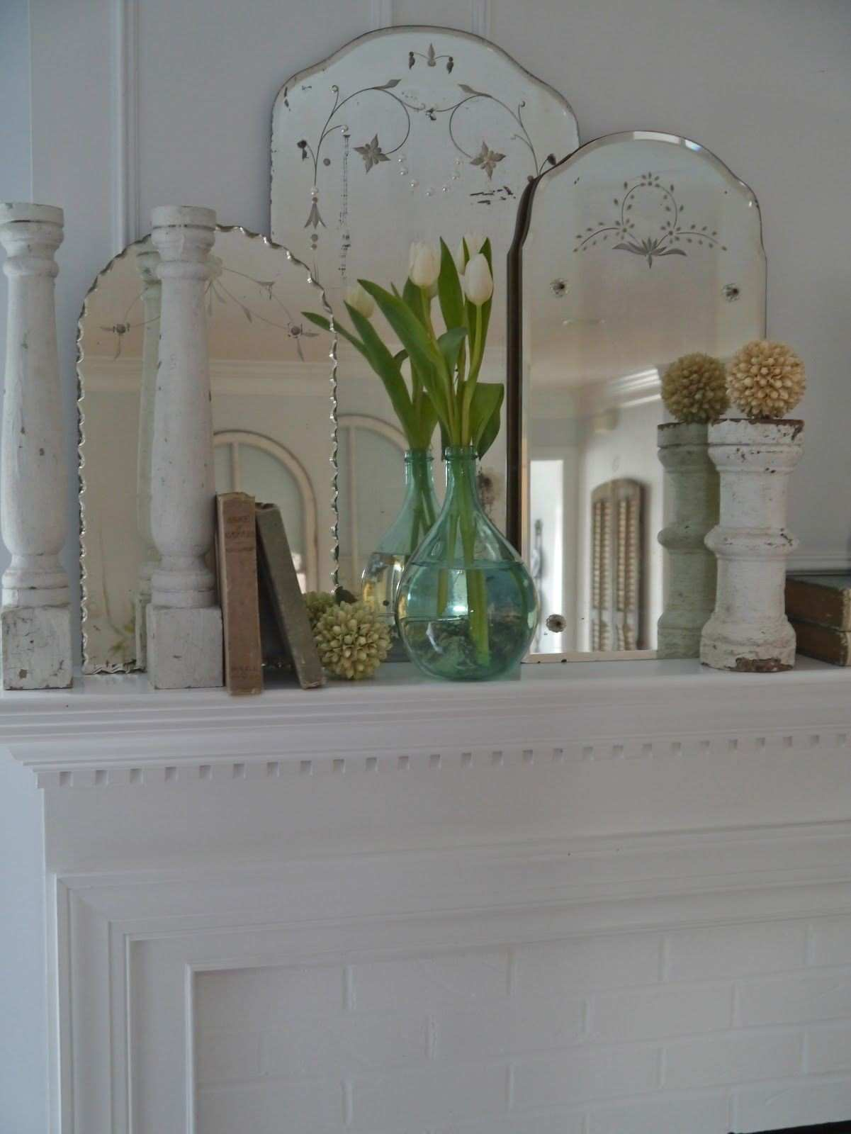 Etched Vintage Mirrors Look Great Grouped to Her Design Art Deco