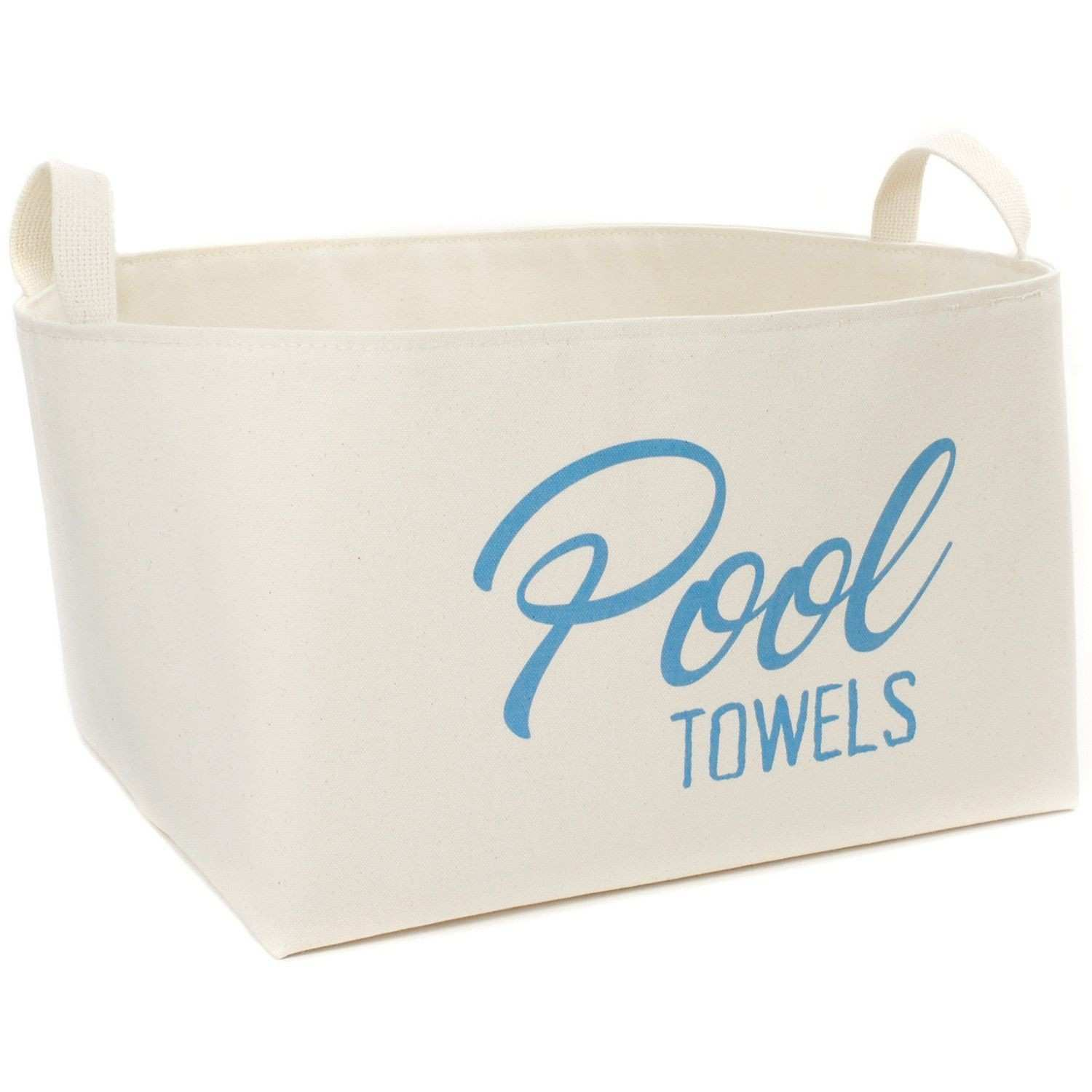 Stack your pool towels in this stylish extra large canvas storage