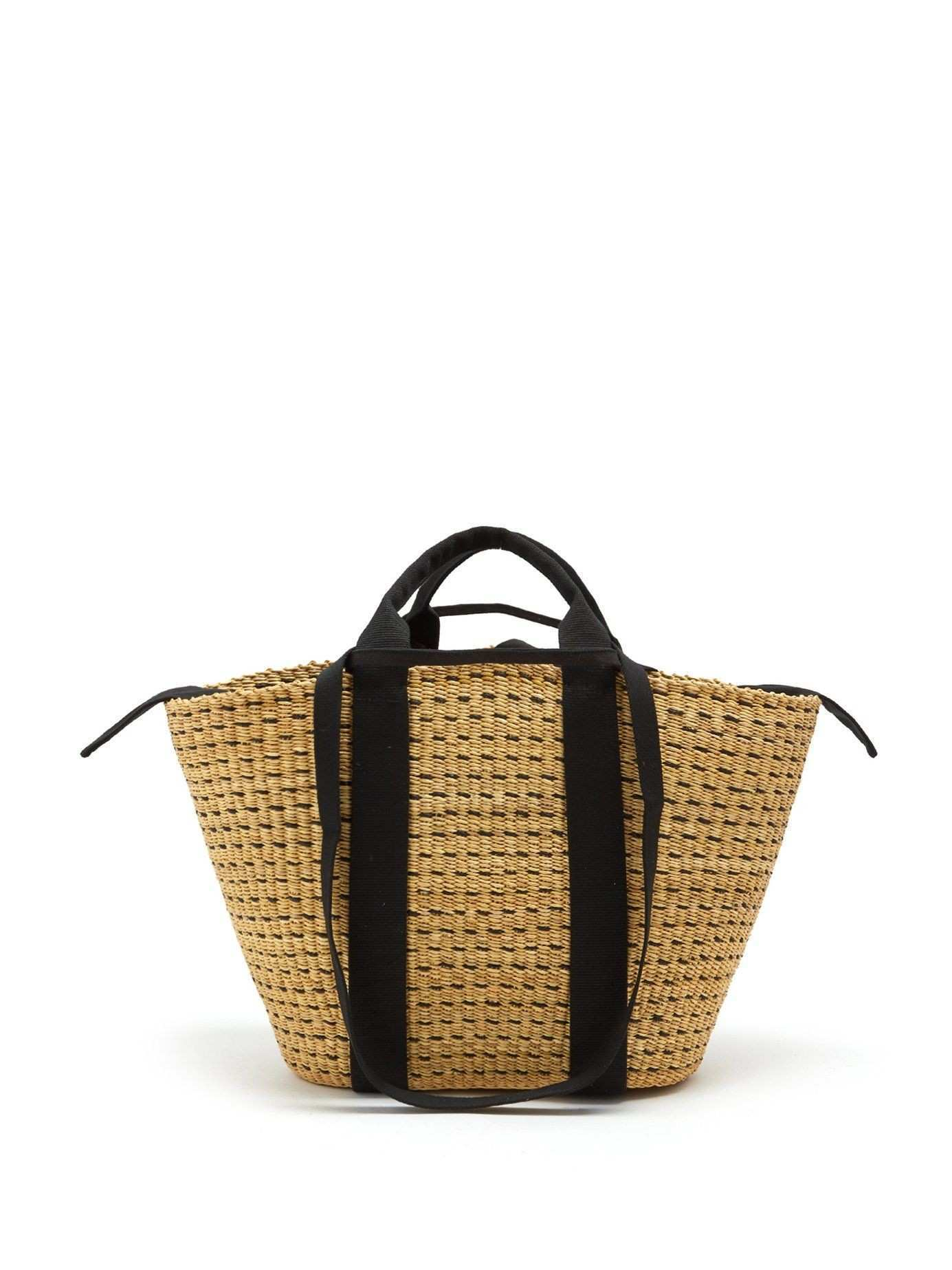 here to Muu± Blaise large canvas and hand woven straw tote
