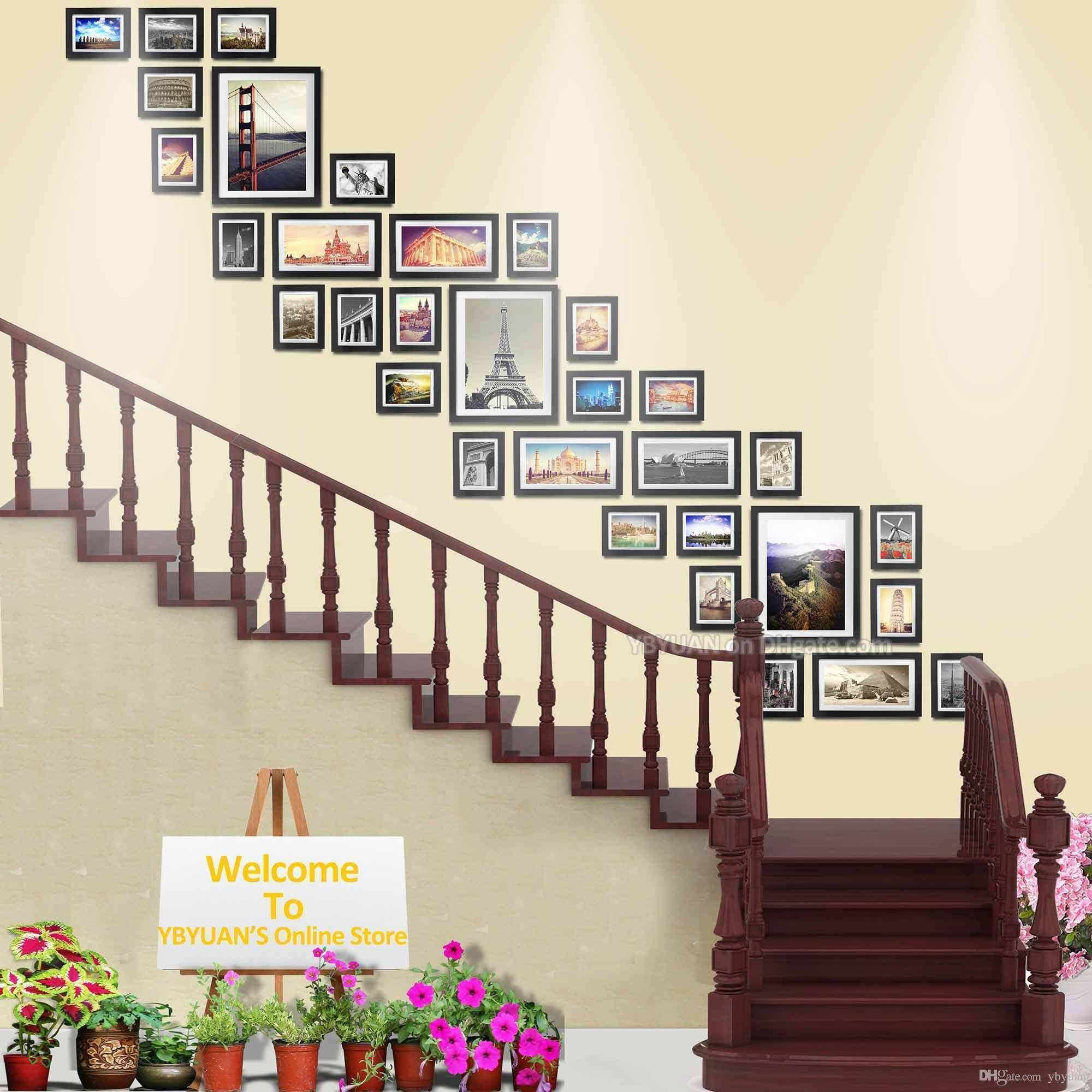 Wood Frames Stairwell Gallery Wall Modern Style Flat