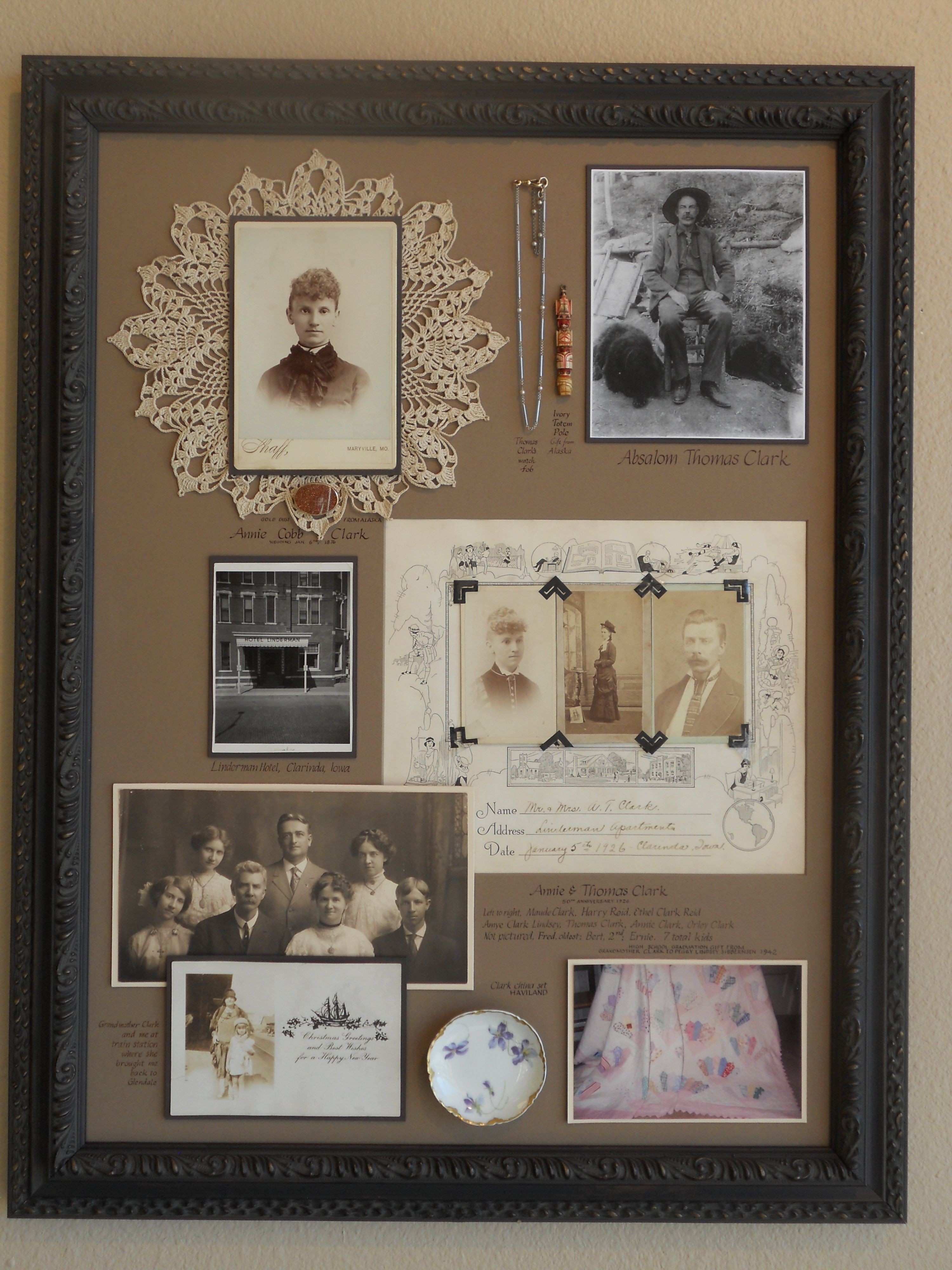 "A ""family history"" Shadowbox Collage We selected an assortment of"