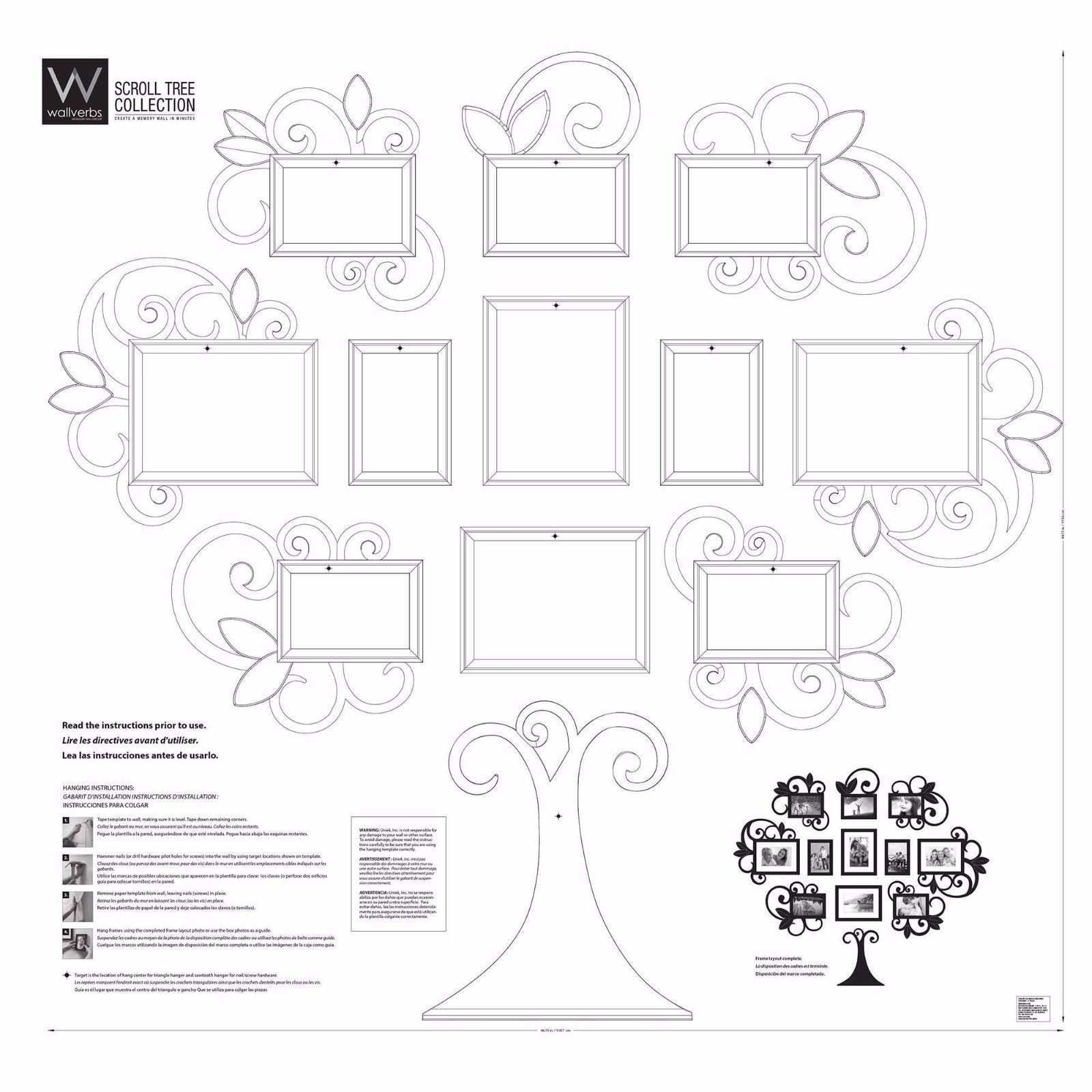 12 piece Family Tree Picture Frame Collage Set Black Wall Art