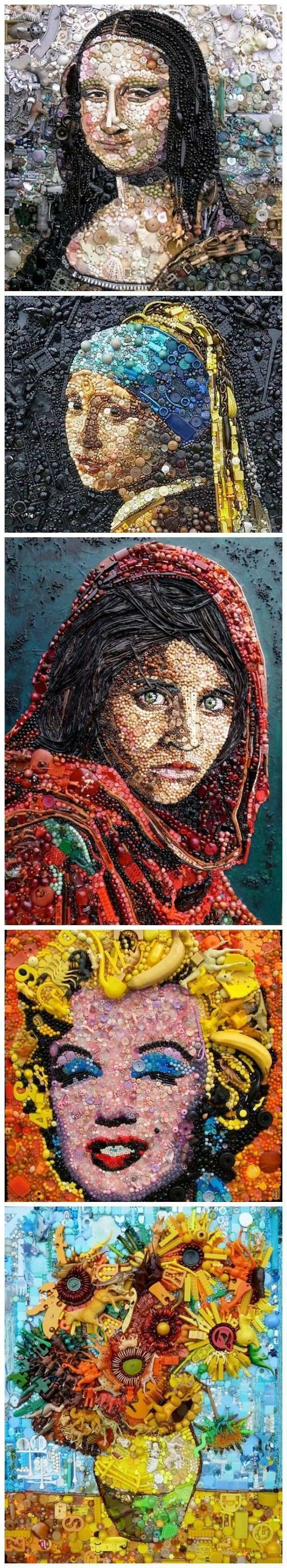 Jane Perkins Recreates Famous Works of Art with Buttons Beads and