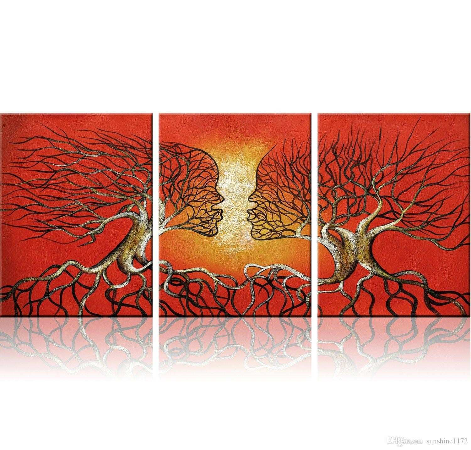 2018 Modern Abstract Lovers Tree Wall Art Red Framed Giclee Canvas