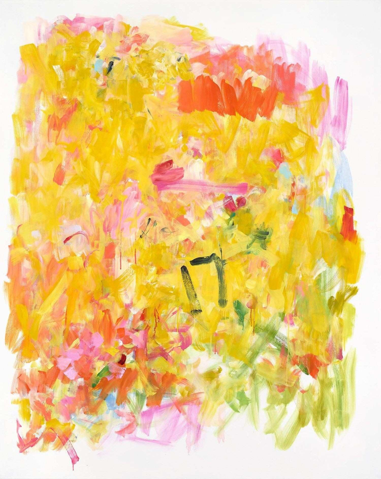Sunflower Sutra Bright Vertical Yellow Pink Green Abstract