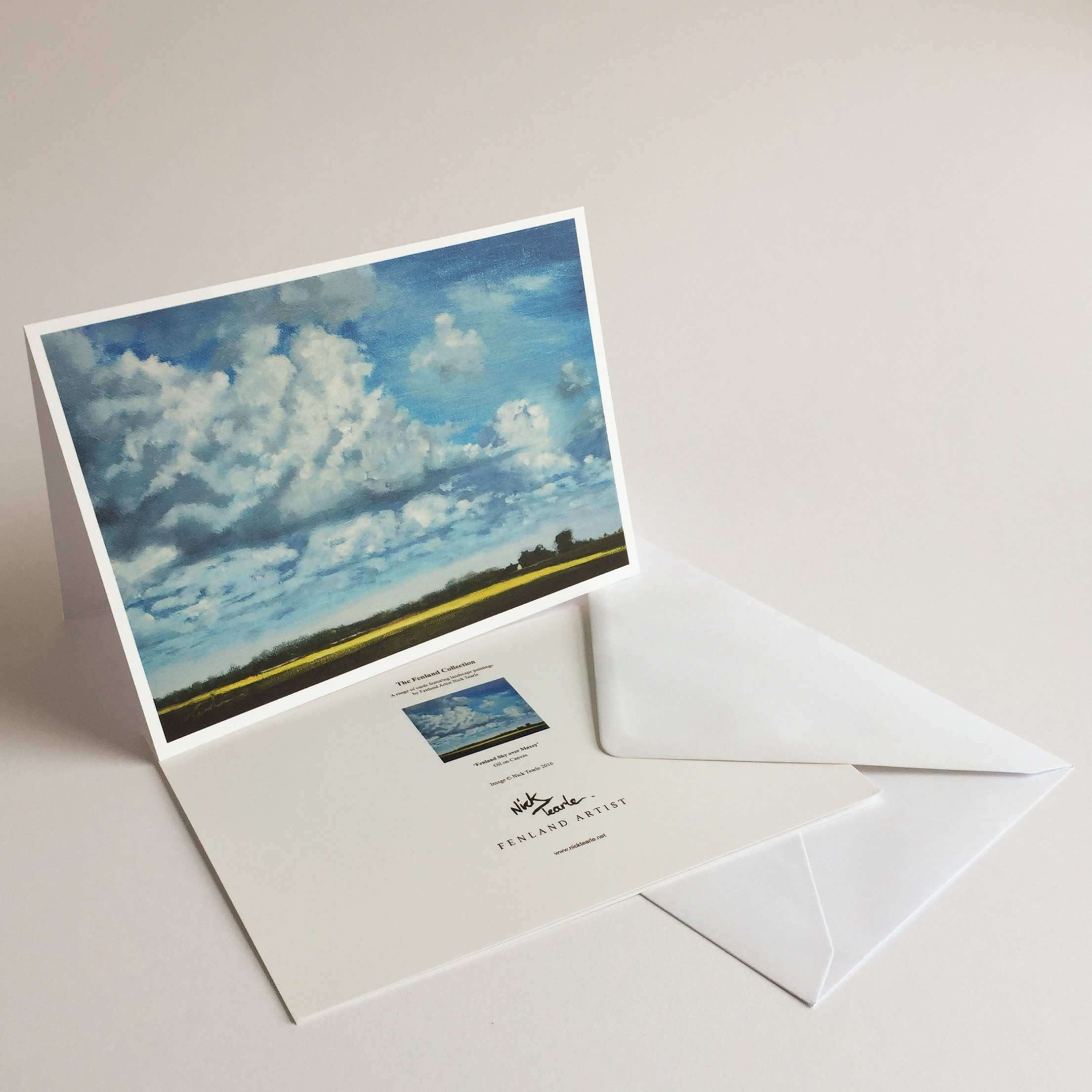 Blank Greetings Card – Fenland Sky over Maxey – Nick Tearle