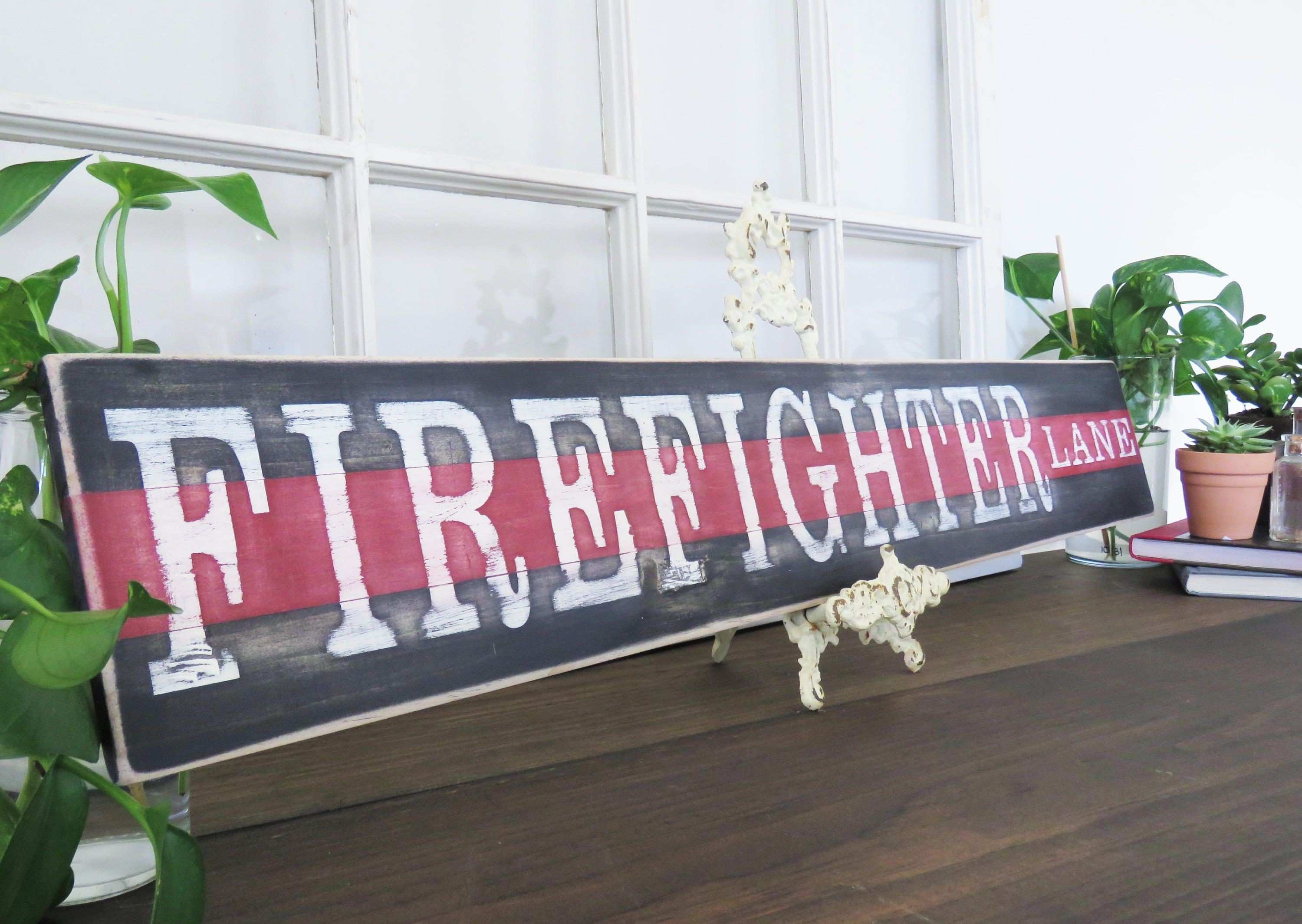 Firefighter Wood Sign Thin Red Line Sign Firemen Sign Firefighter