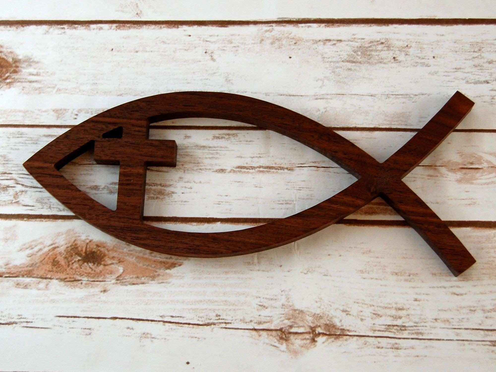 Christian Fish Wall Art with Cross Wooden Christian Fish Ichthus