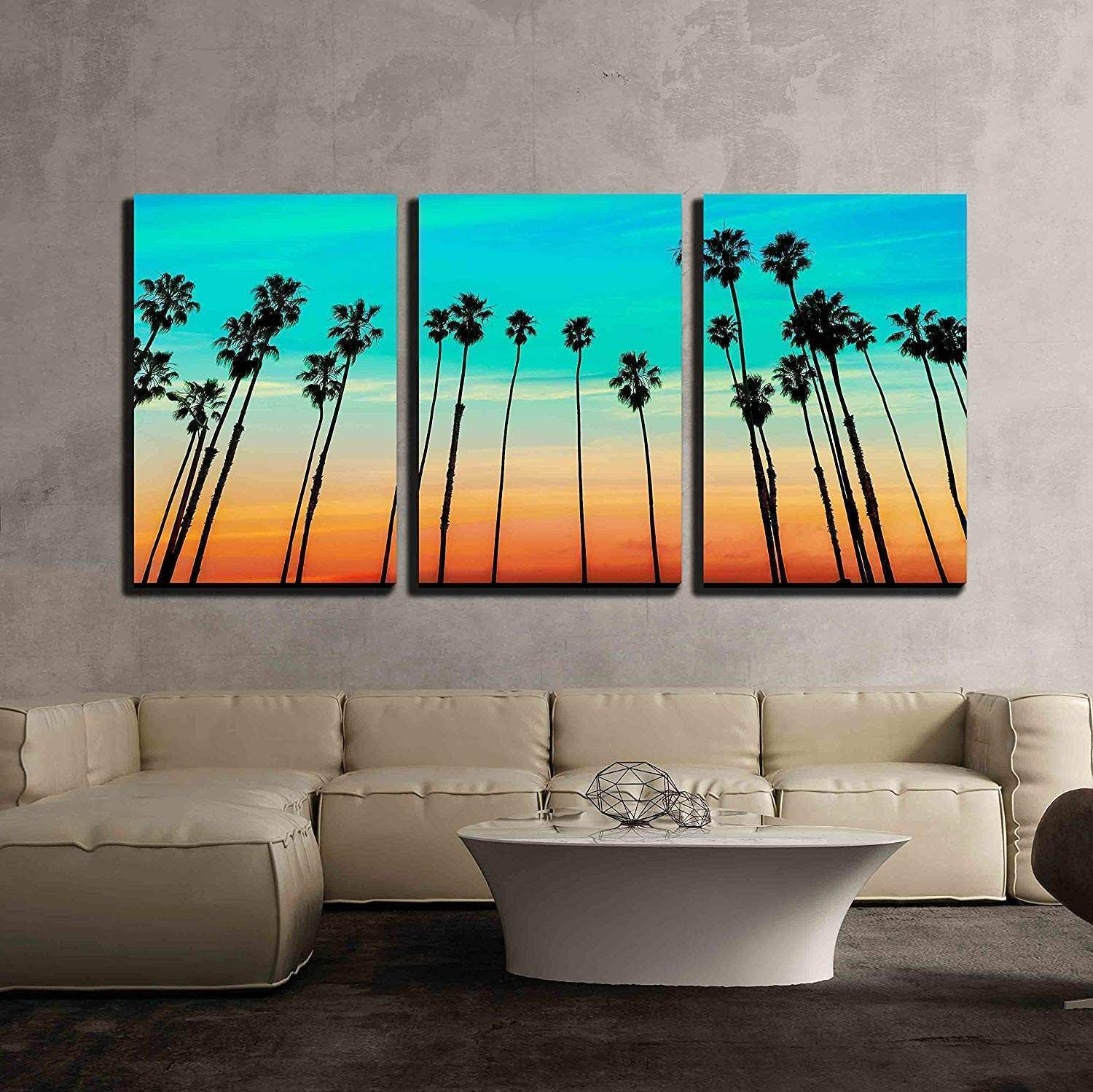Amazon wall26 3 Piece Canvas Wall Art California sunset