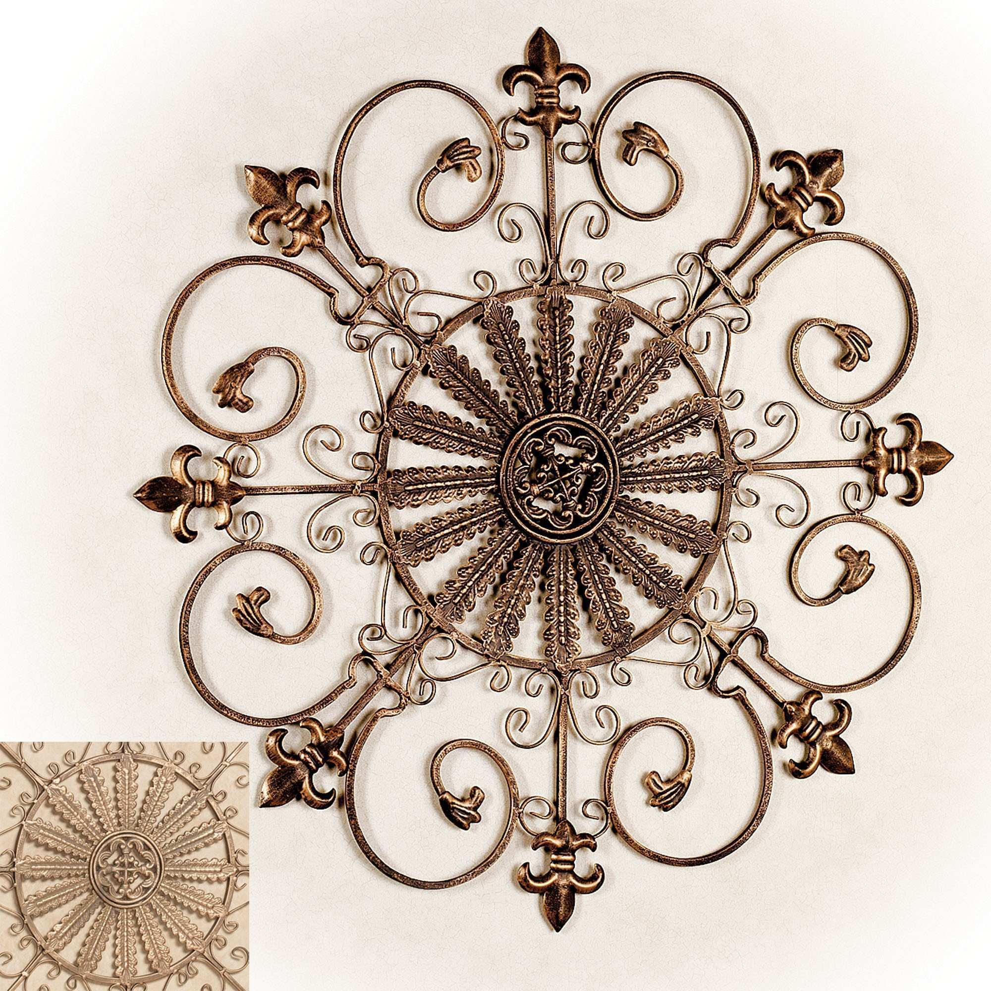 "Fleur De Lis Metal Wall Grille 27"" House and Home Design Tuscan"