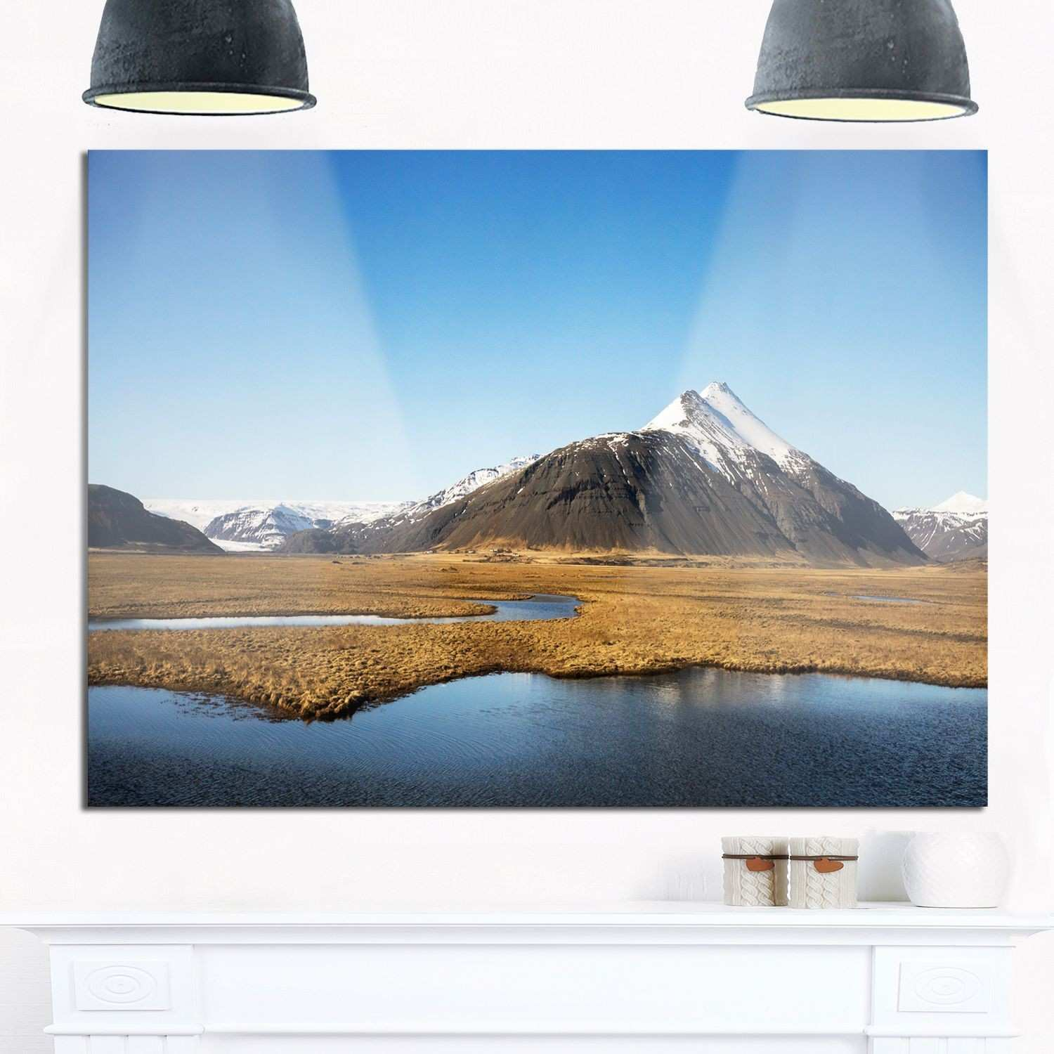 Scenic Southern Iceland Landscape Glossy Metal Wall Art