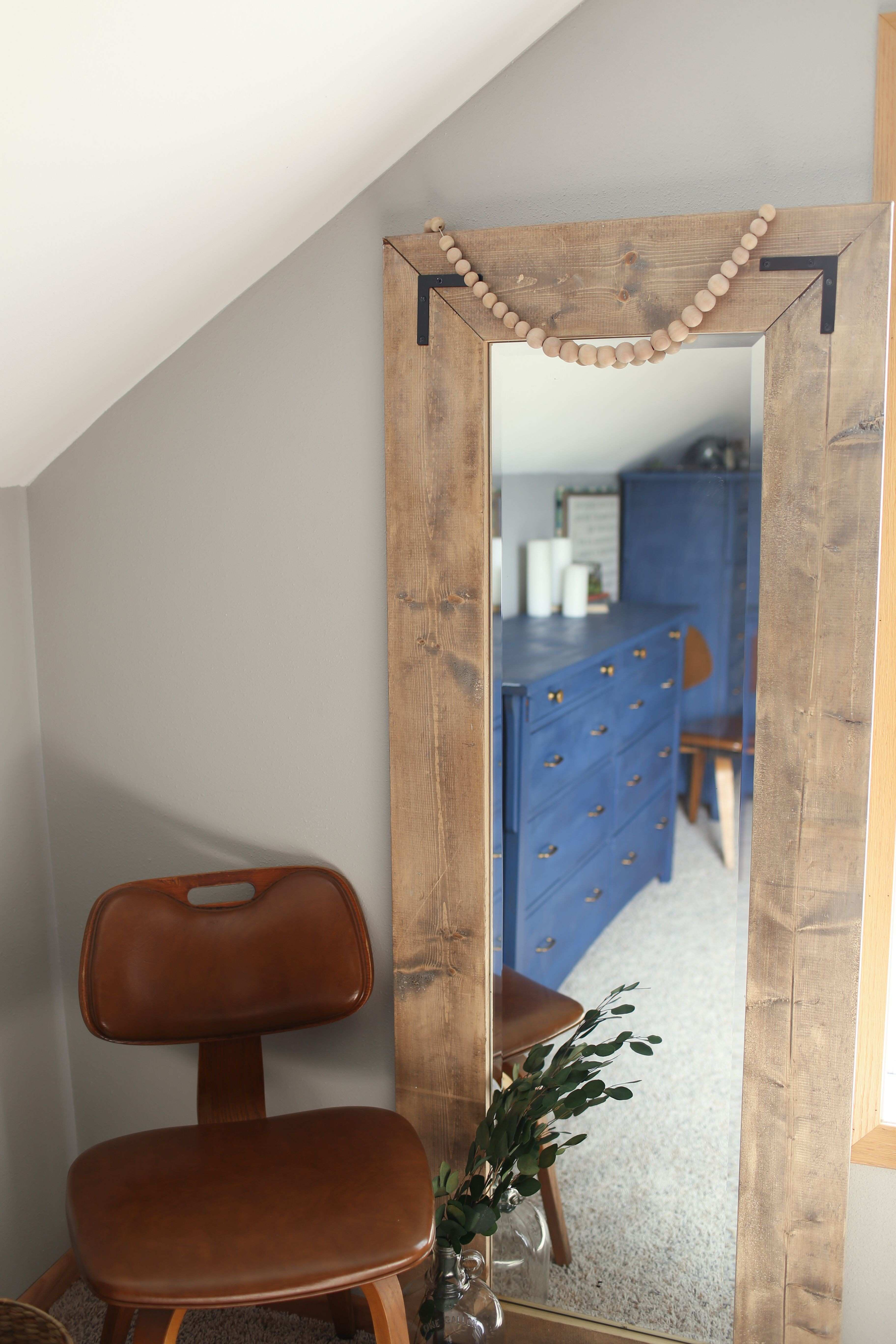 Create a large floor mirror with a modern farmhouse look from a