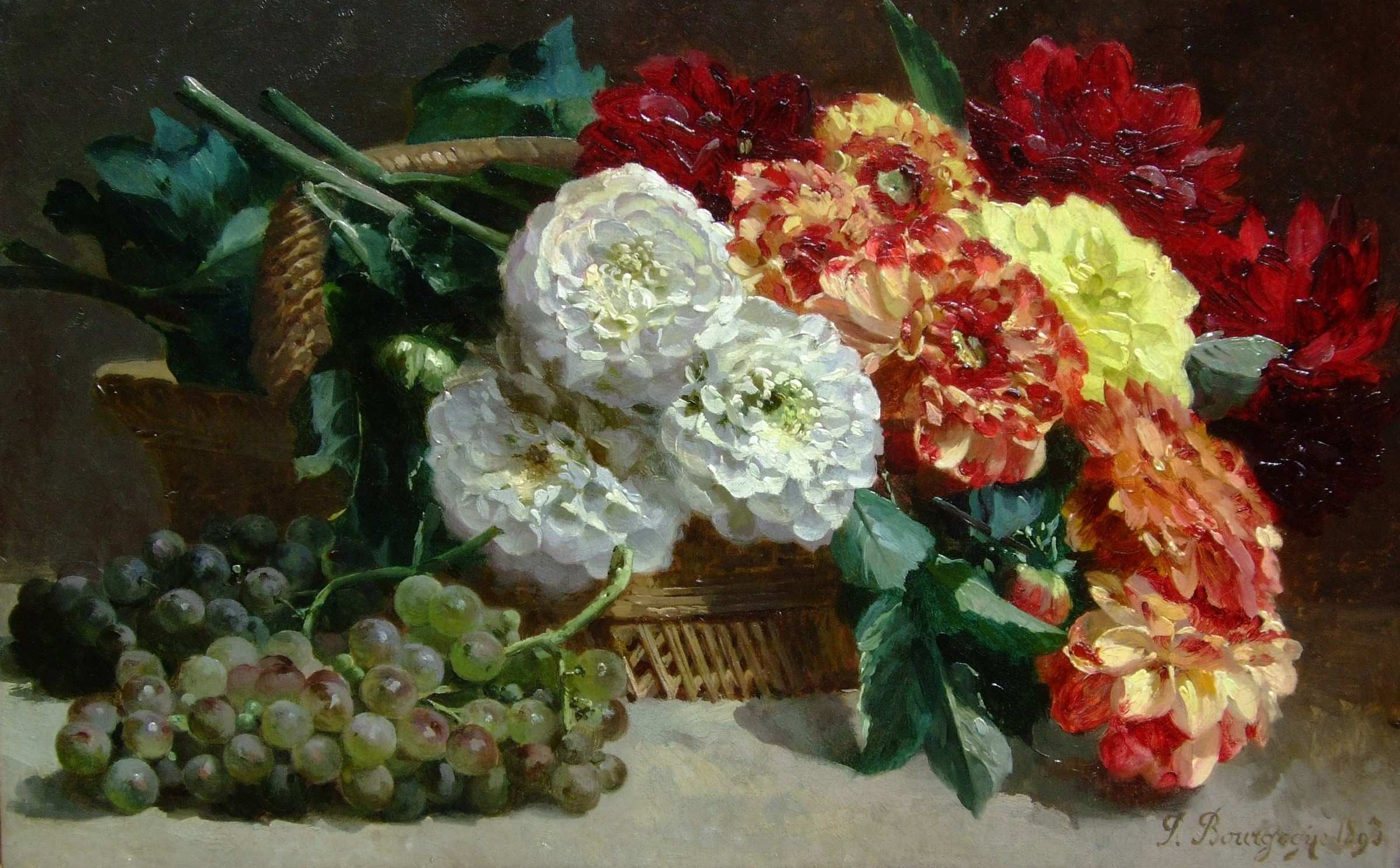 Pierre Bourgogne Still life of flowers and grapes