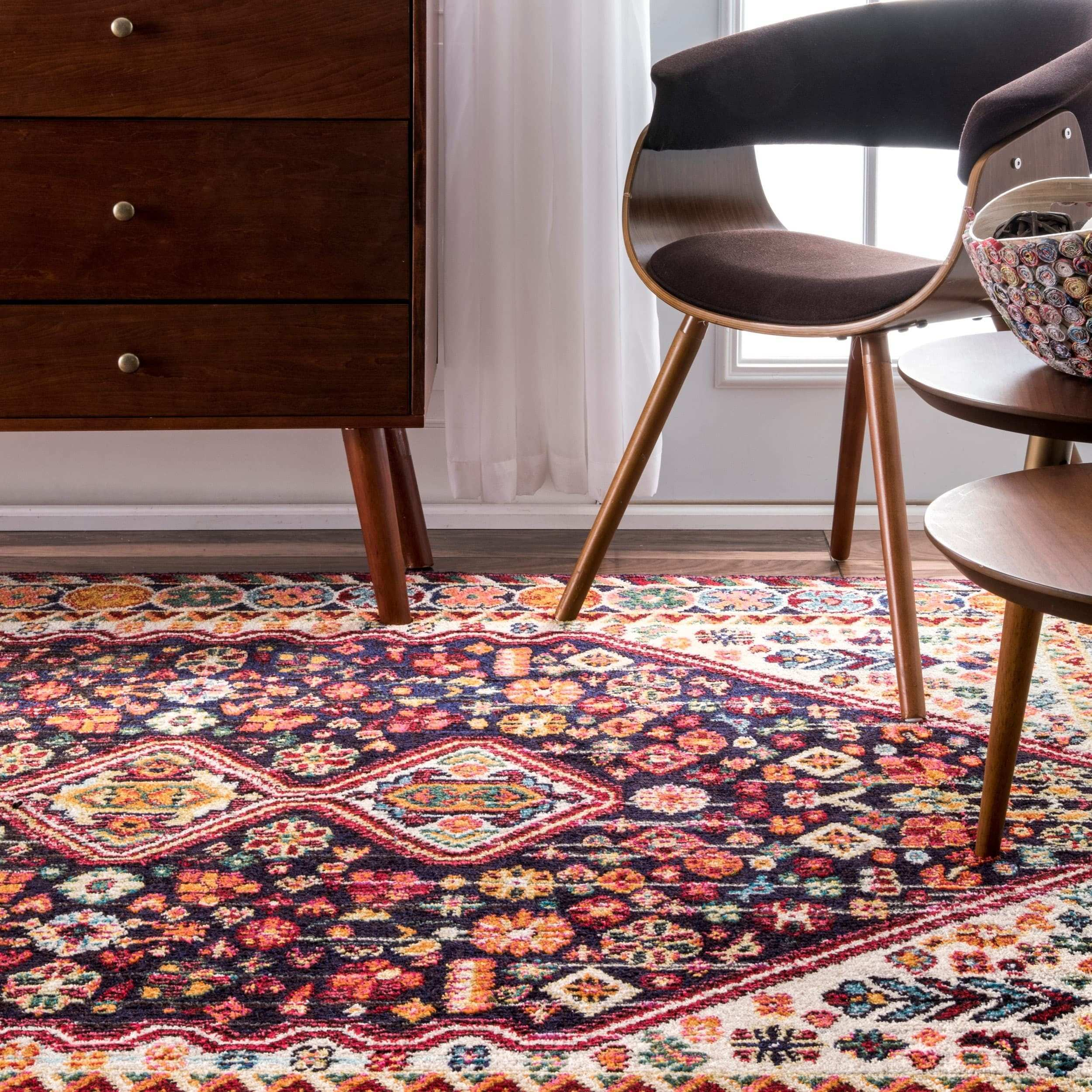 Shop nuLoom Persian Traditional Distressed Flower Multicolor Rug 7