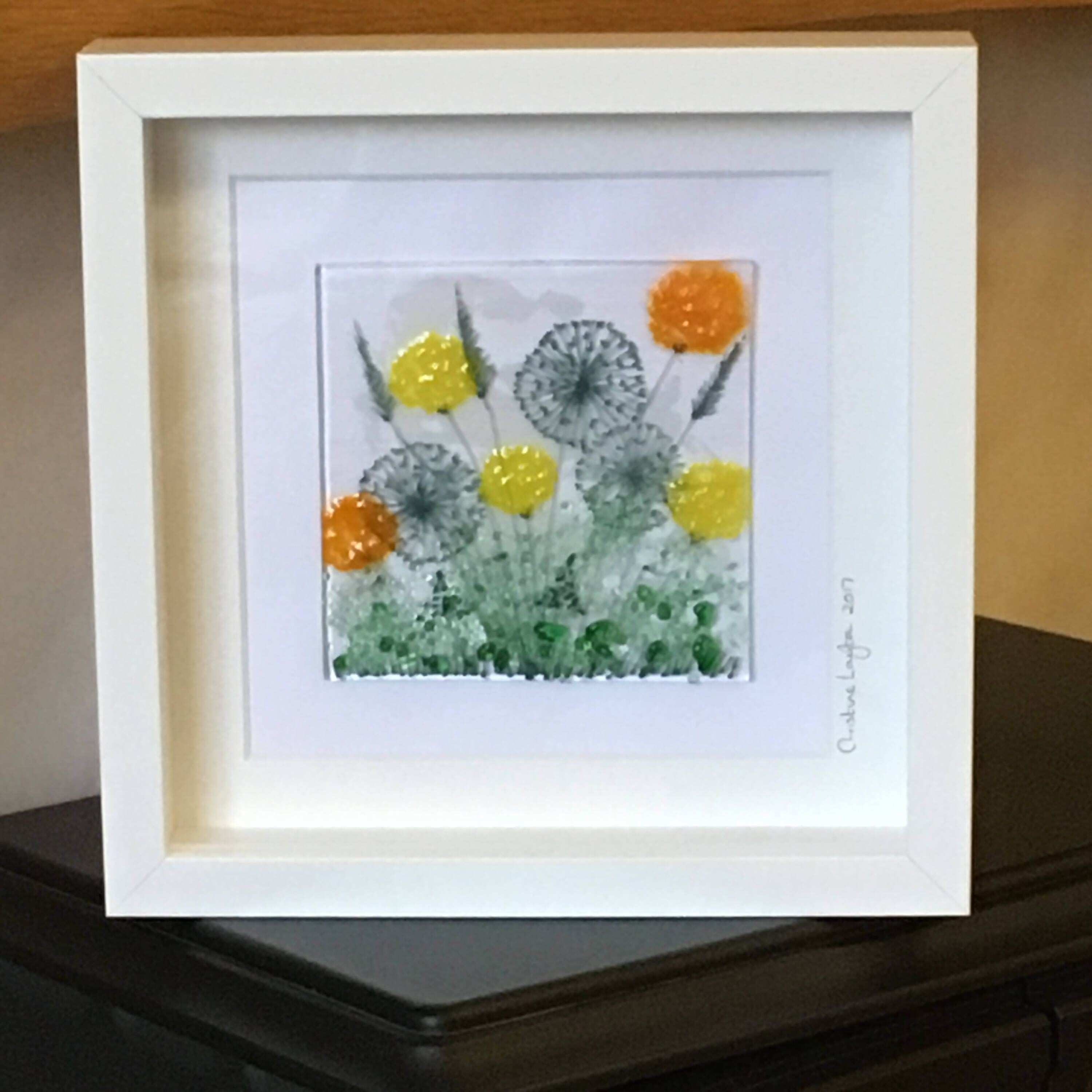 Glass Floral Wall Hanging Orange Yellow flowers and Seed Heads