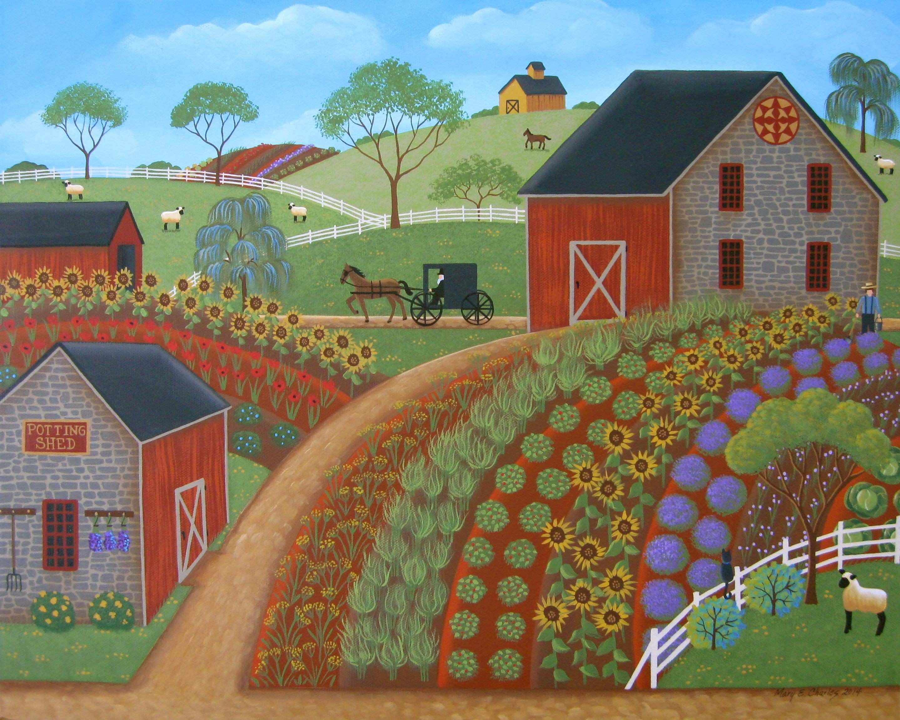 """Country Garden"""" Original Folk Art Painting by Mary Charles available"""