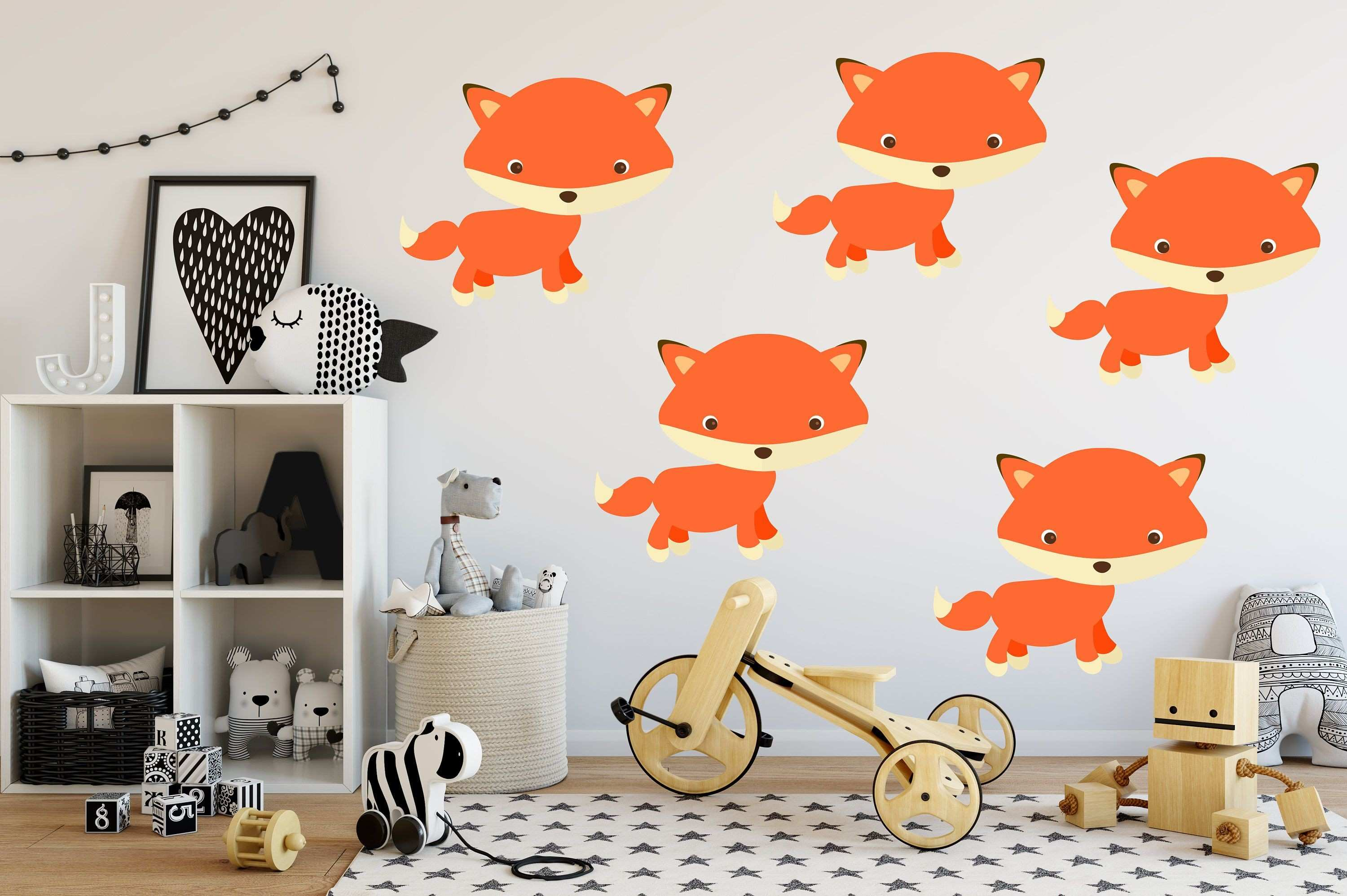 Fox Wall Decal Set Colorful Fox Stickers Fox Wall Decals Fox