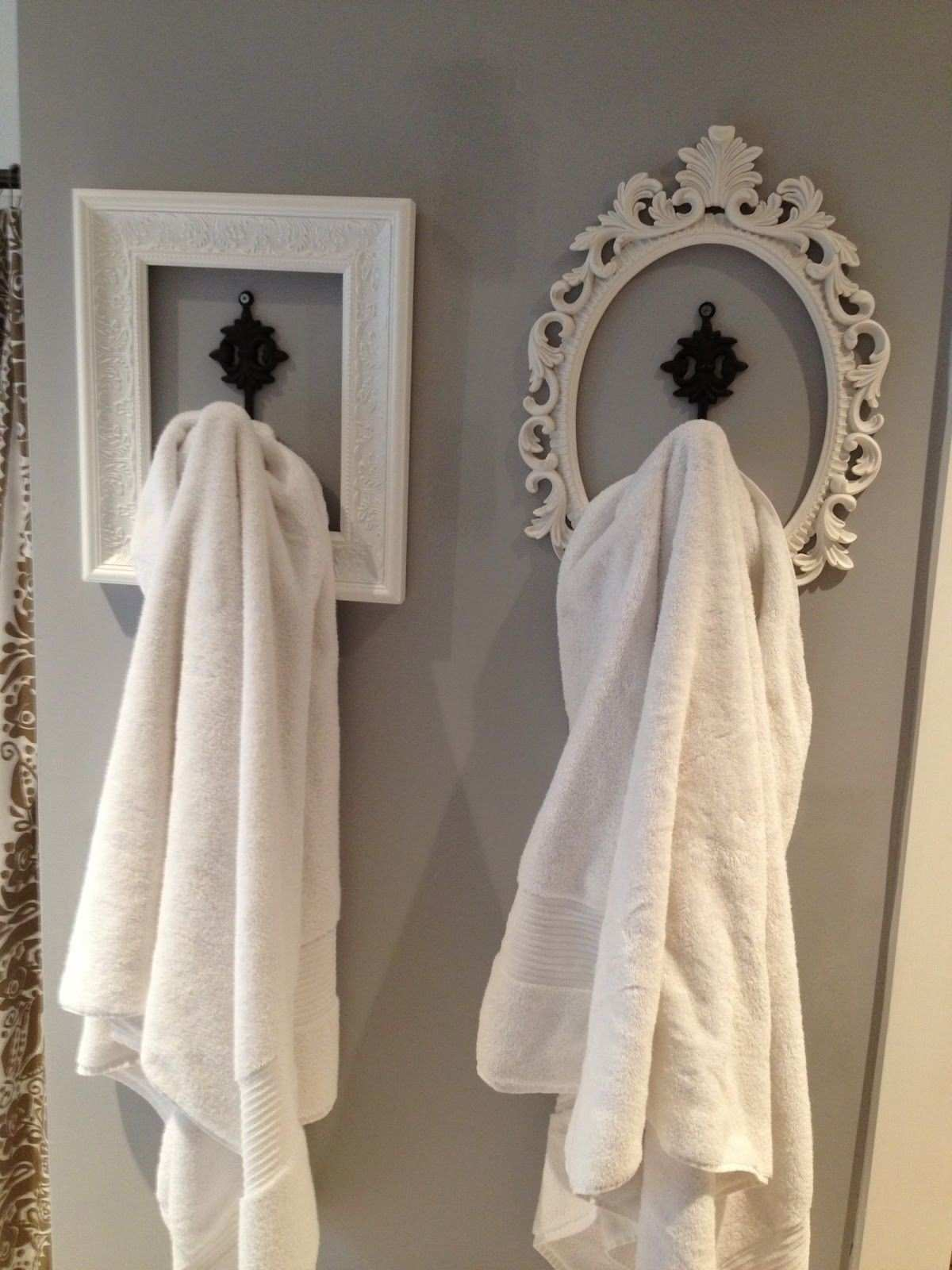 Perfect look for hanging towels etc used old frames spray paint