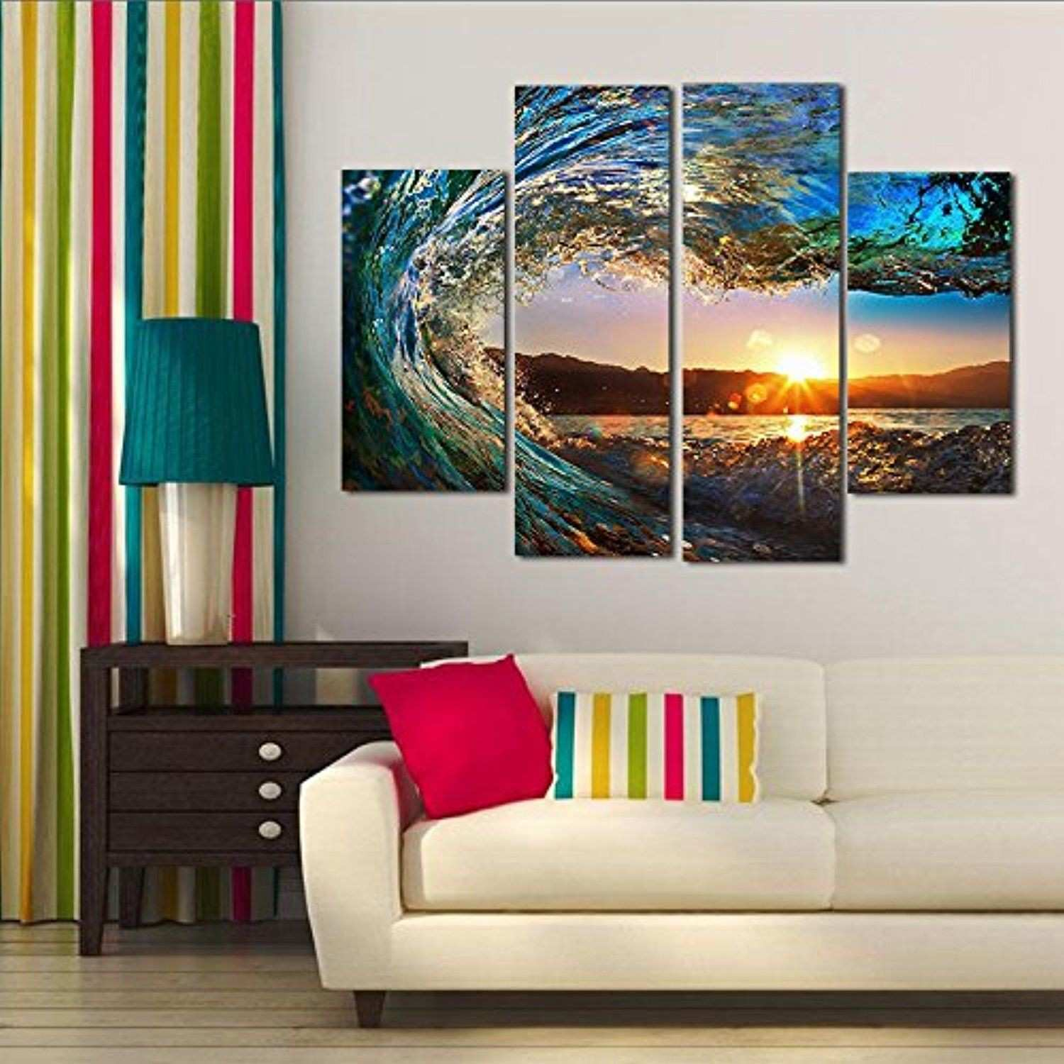 WALLORY 4 Panels Wall Art Oil Painting without Frame Abstract