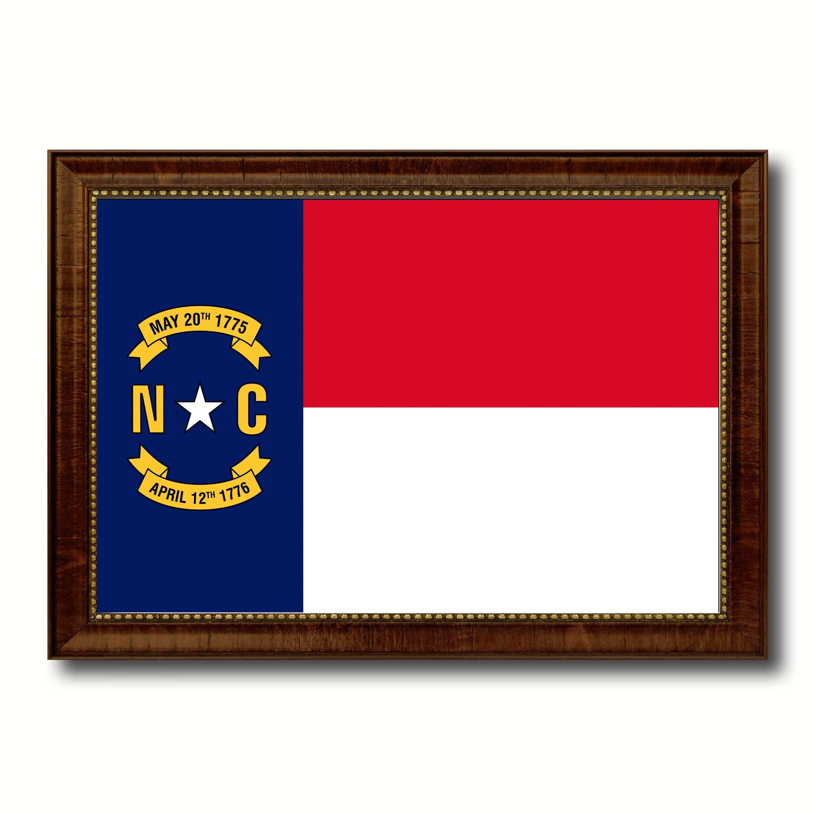 North Carolina State Flag Canvas Print with Custom Brown Picture