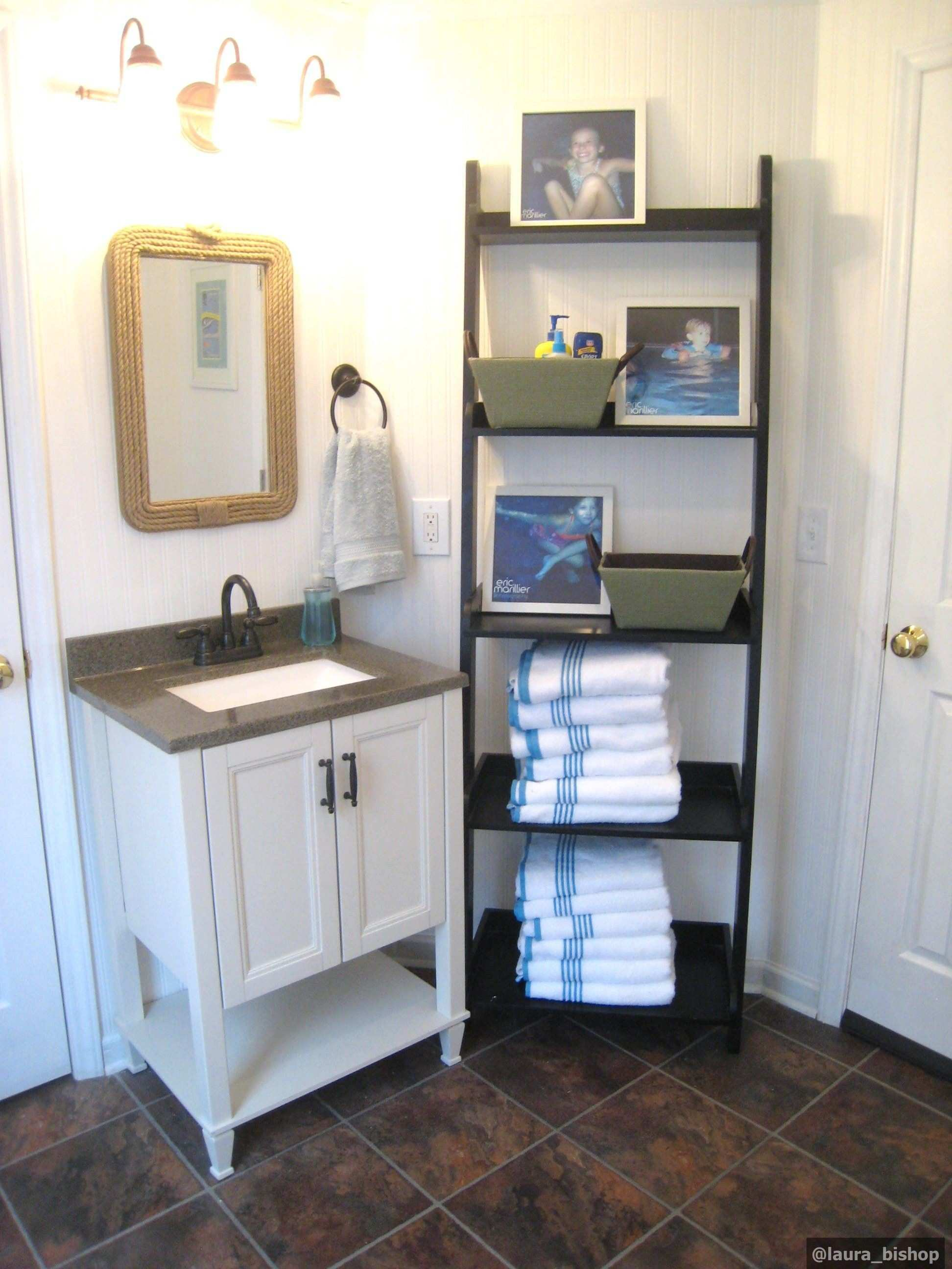 Pool changing room Sink Mirror and ladder shelves…