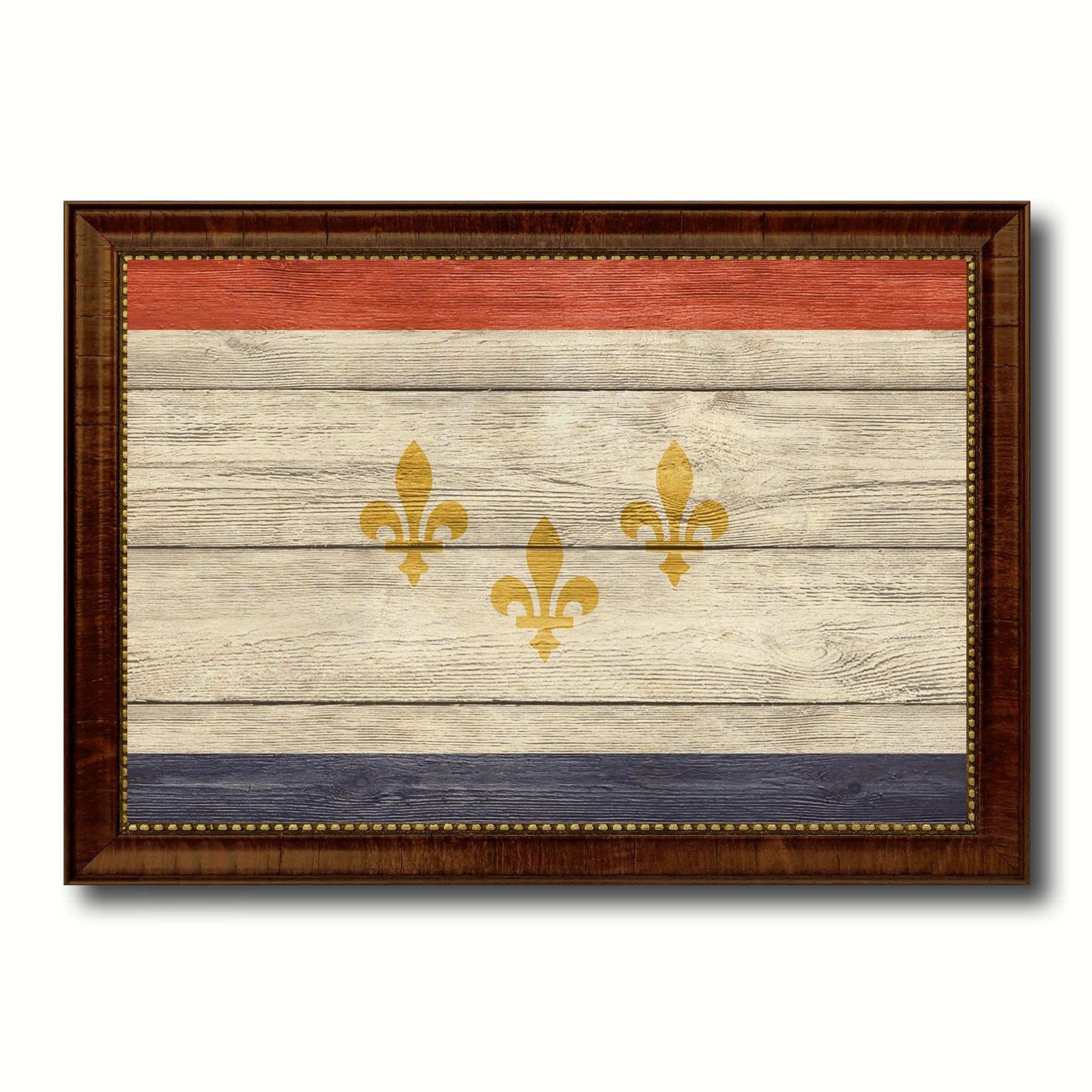New Orleans City Louisiana State Texture Flag Canvas Print Brown