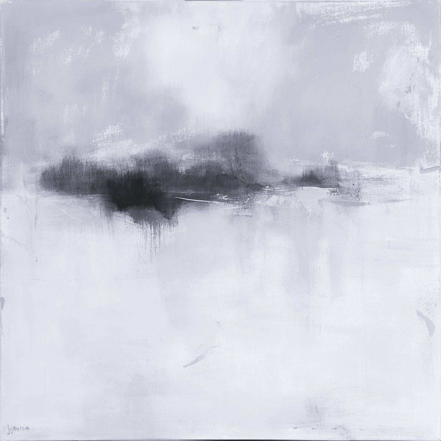Ready to Hang Minimalist Black and White Abstract Landscape Canvas