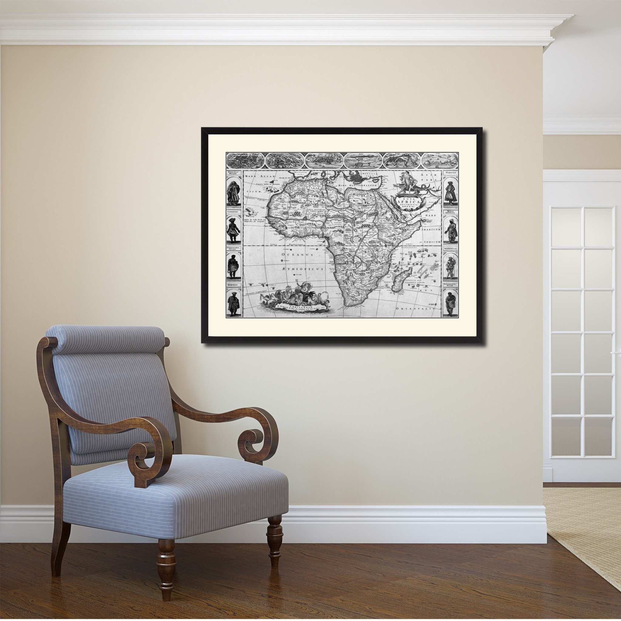 Africa Vintage B&W Map Canvas Print Picture Frame Home Decor Wall Art Gift Ideas