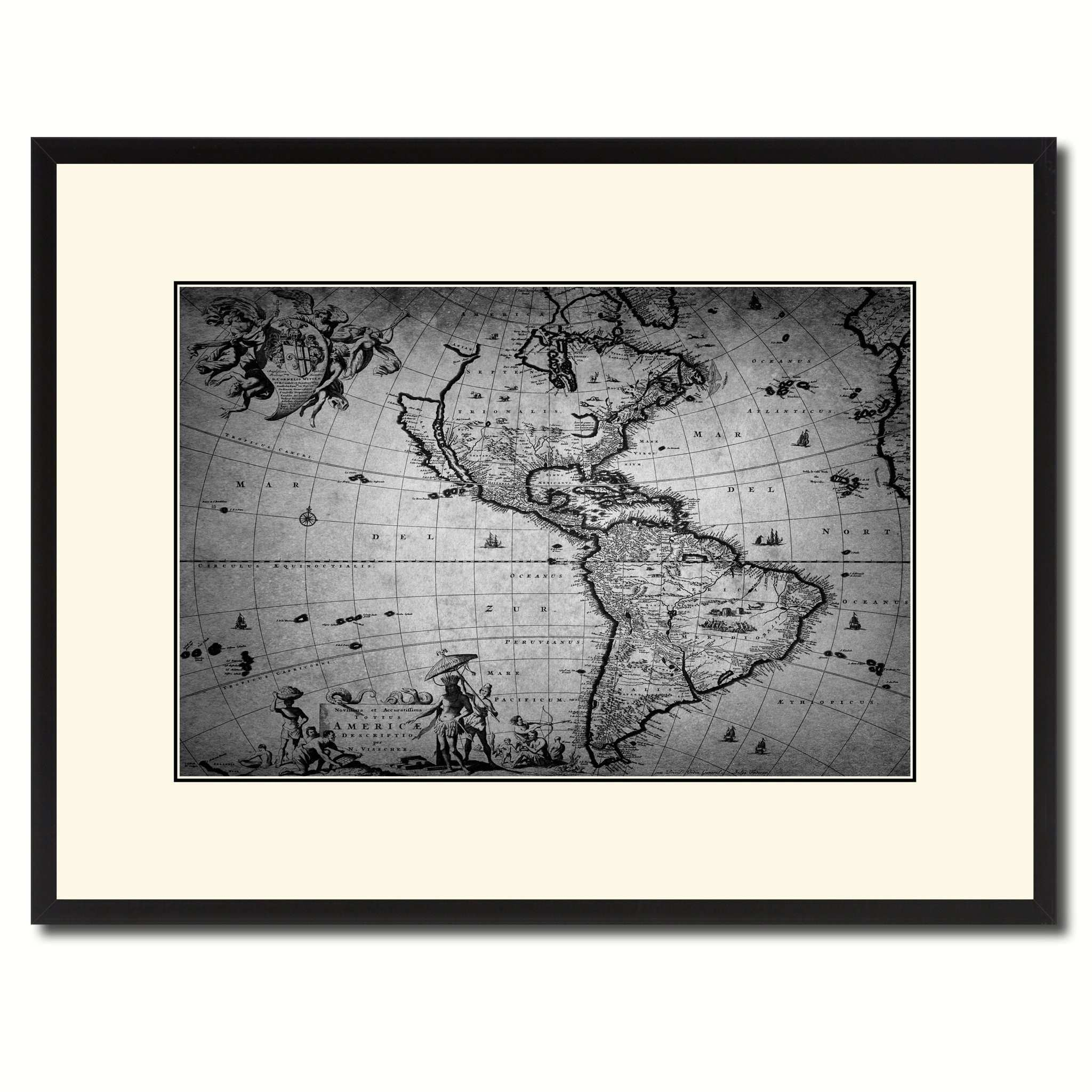 America Vintage B&W Map Canvas Print Picture Frame Home Decor Wall Art Gift Ideas