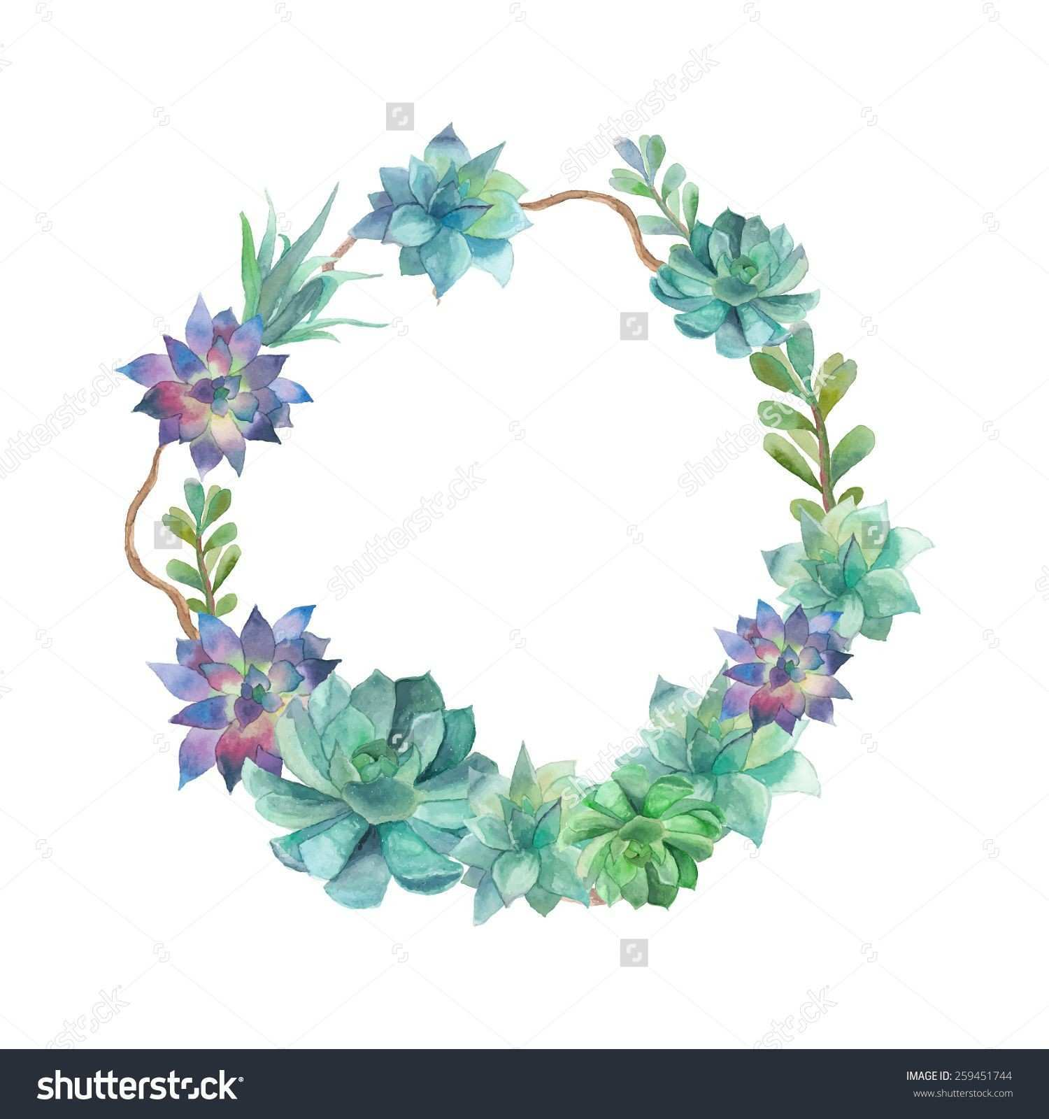 Watercolor succulents wreath Vintage round frame with tree branch