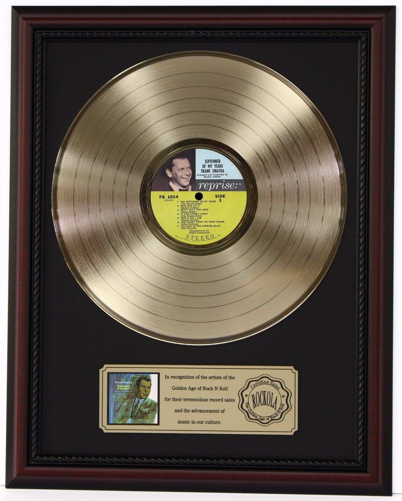 Frank Sinatra Sept My Years Cherrywood Framed Gold Lp Display K1