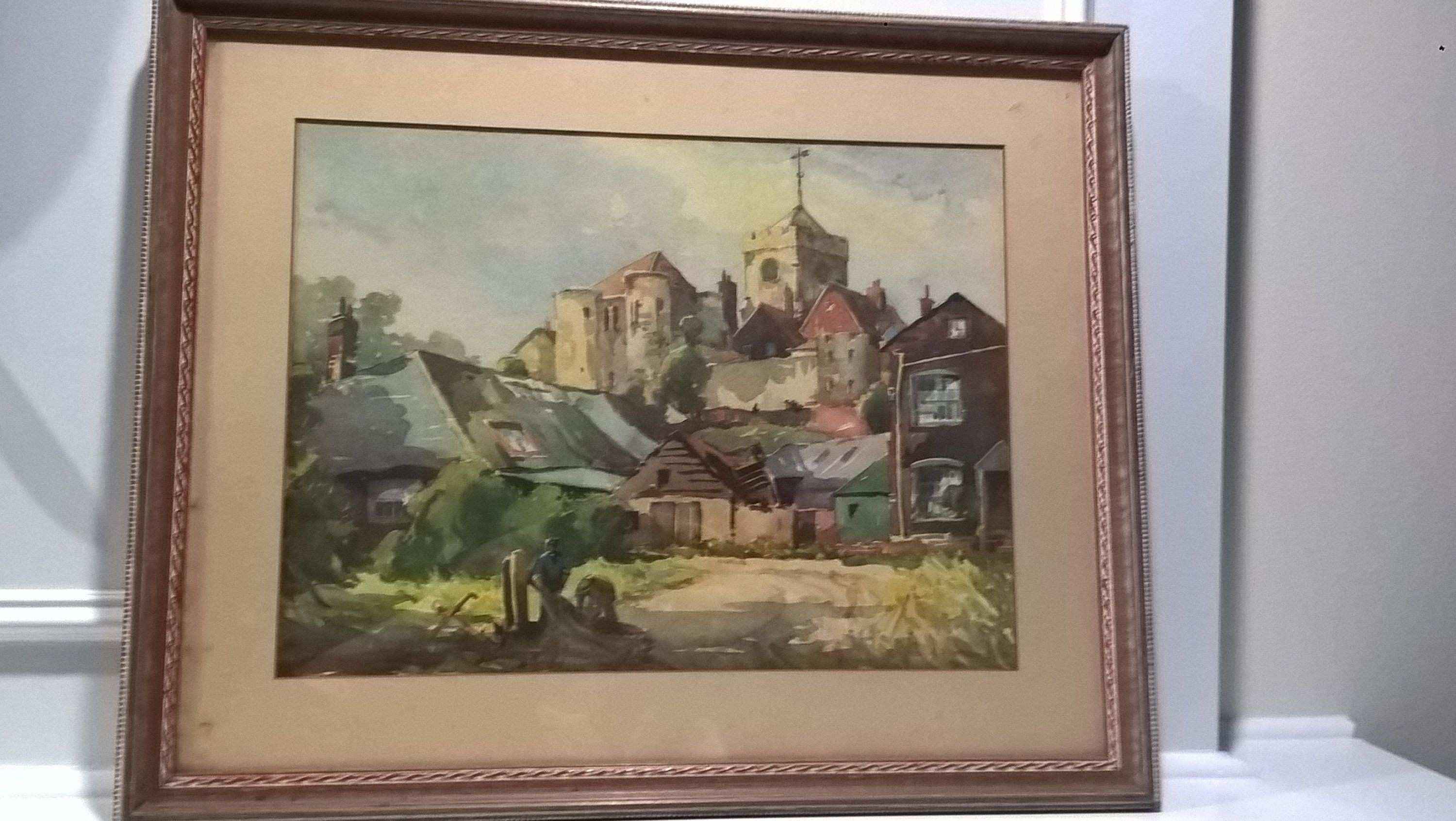 The Church on The Hill by W Hyams Watercolor Print With Frame