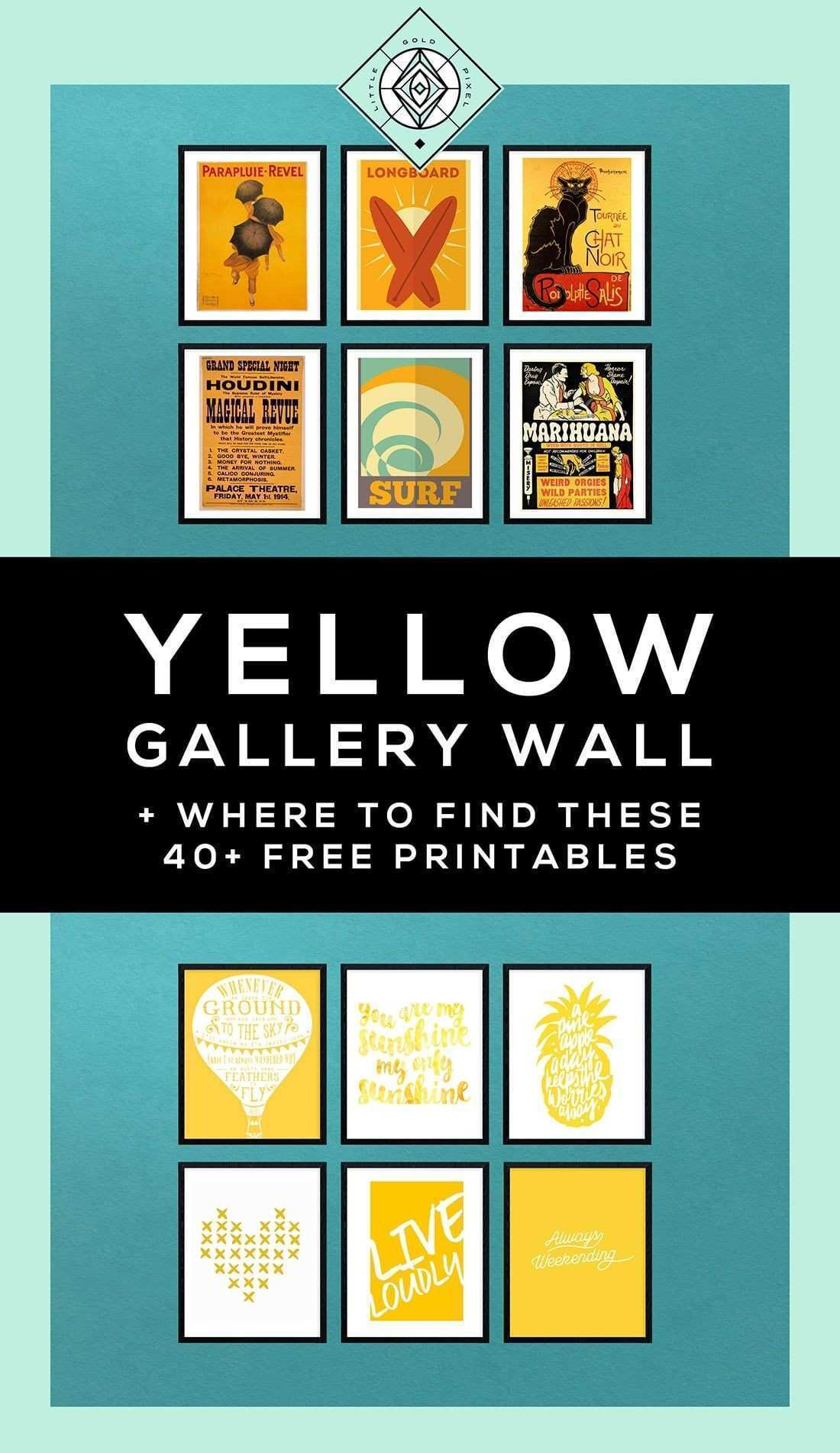 Yellow Gallery Wall • A Free Printable Roundup Pinterest