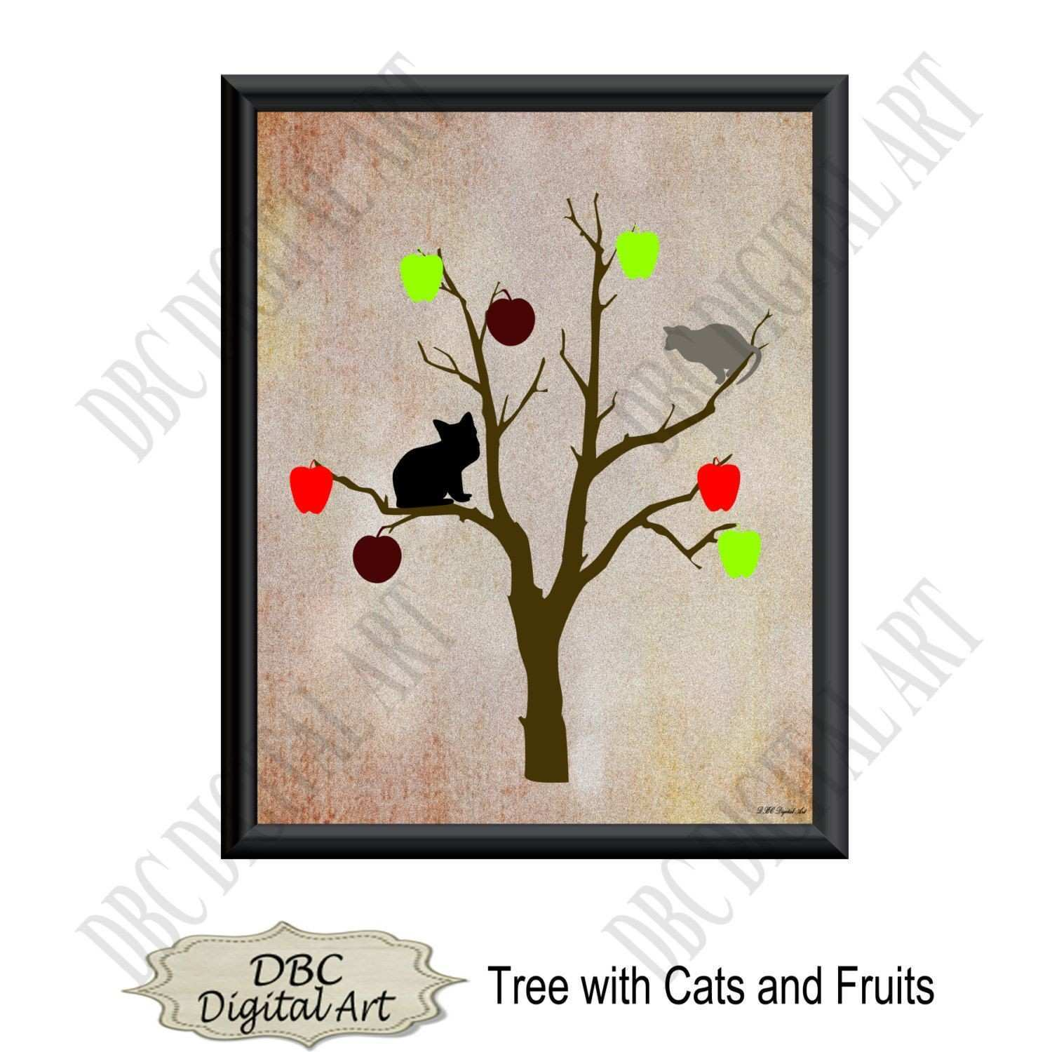 Printable wall art tree fruits & cats wall art wall decor